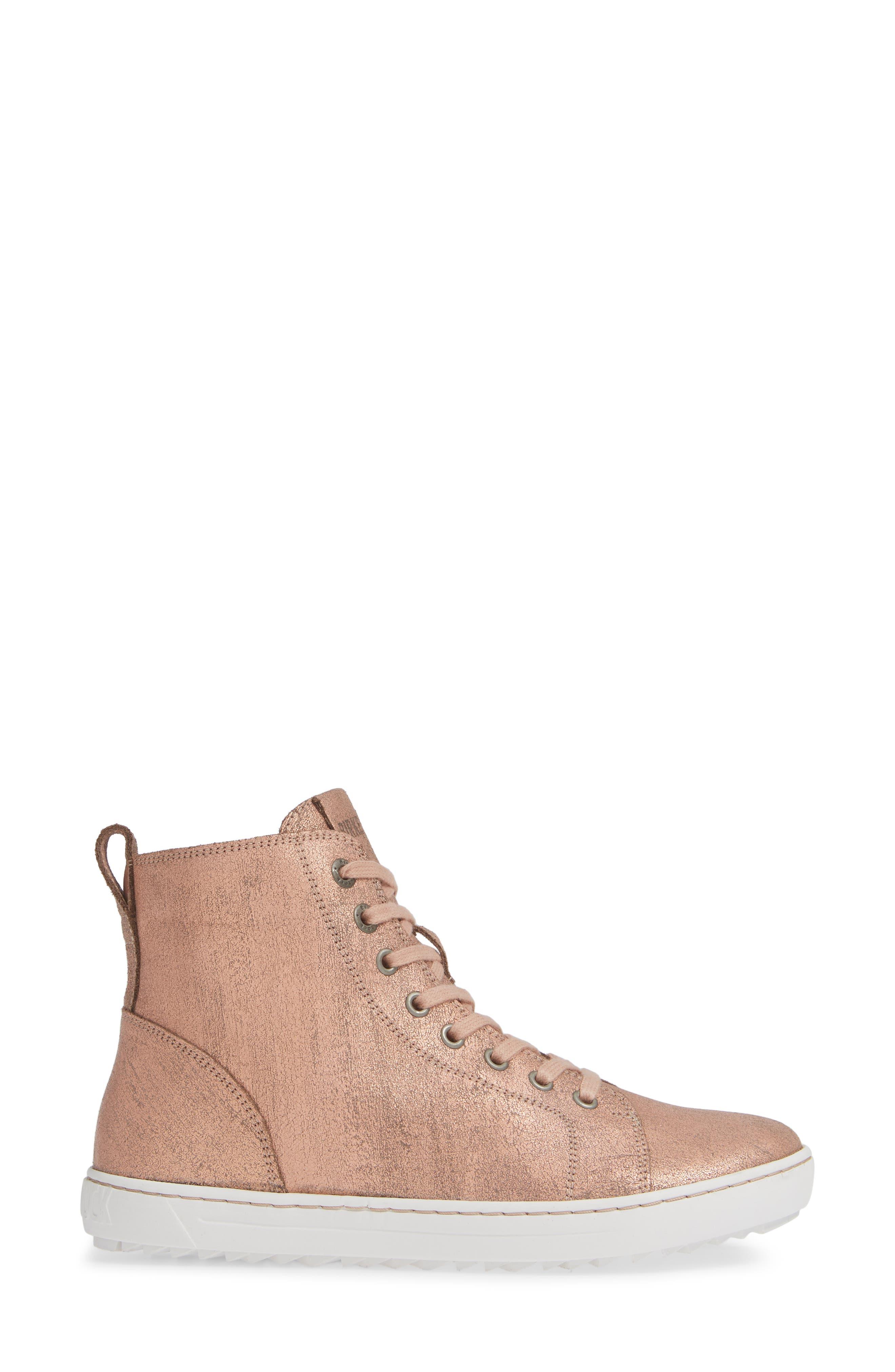 Bartlett High Top Sneaker,                             Alternate thumbnail 3, color,                             METALLIC ROSE LEATHER