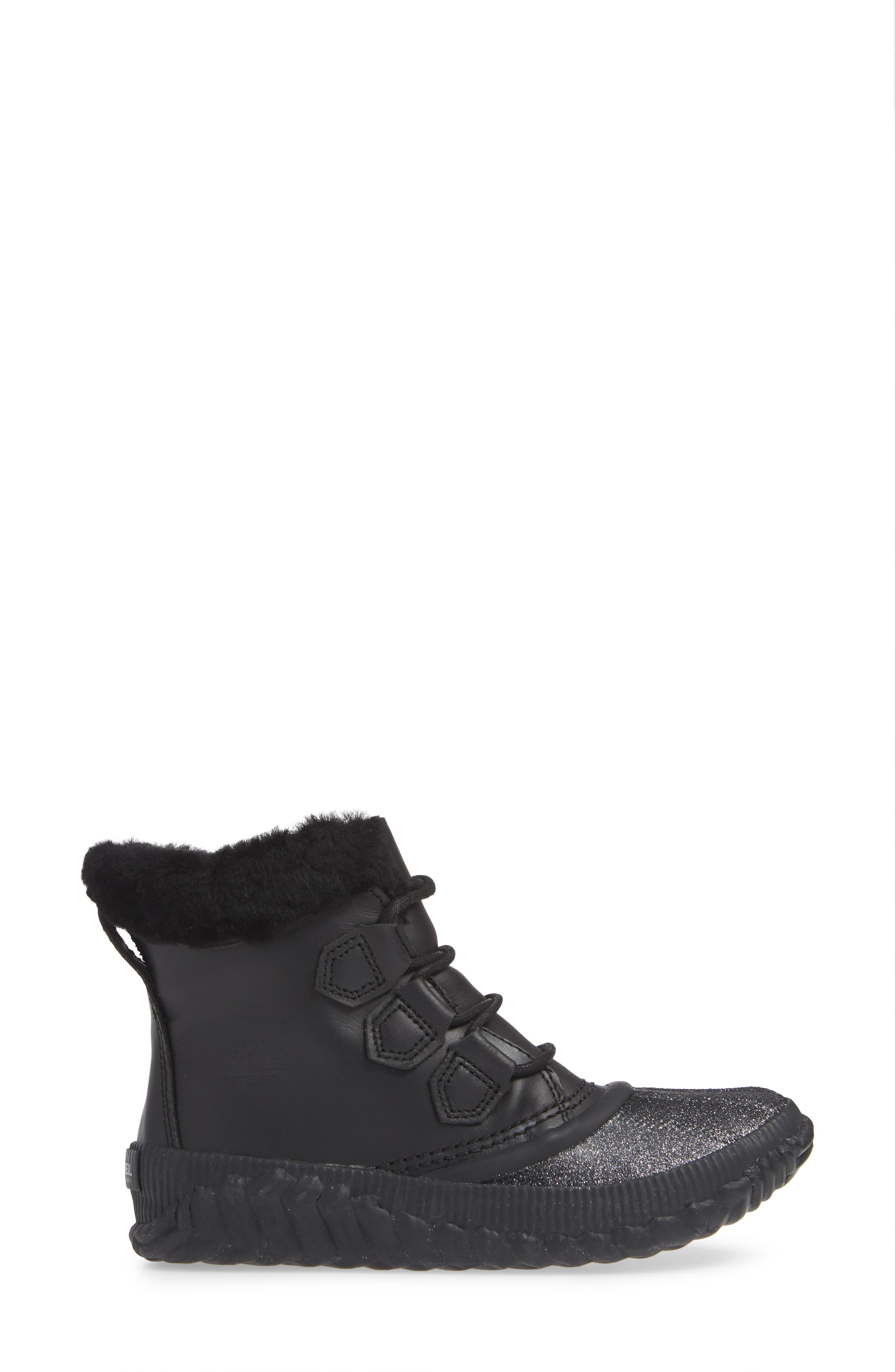 Out N About Plus Lux Waterproof Boot with Genuine Shearling Trim,                             Alternate thumbnail 3, color,                             BLACK