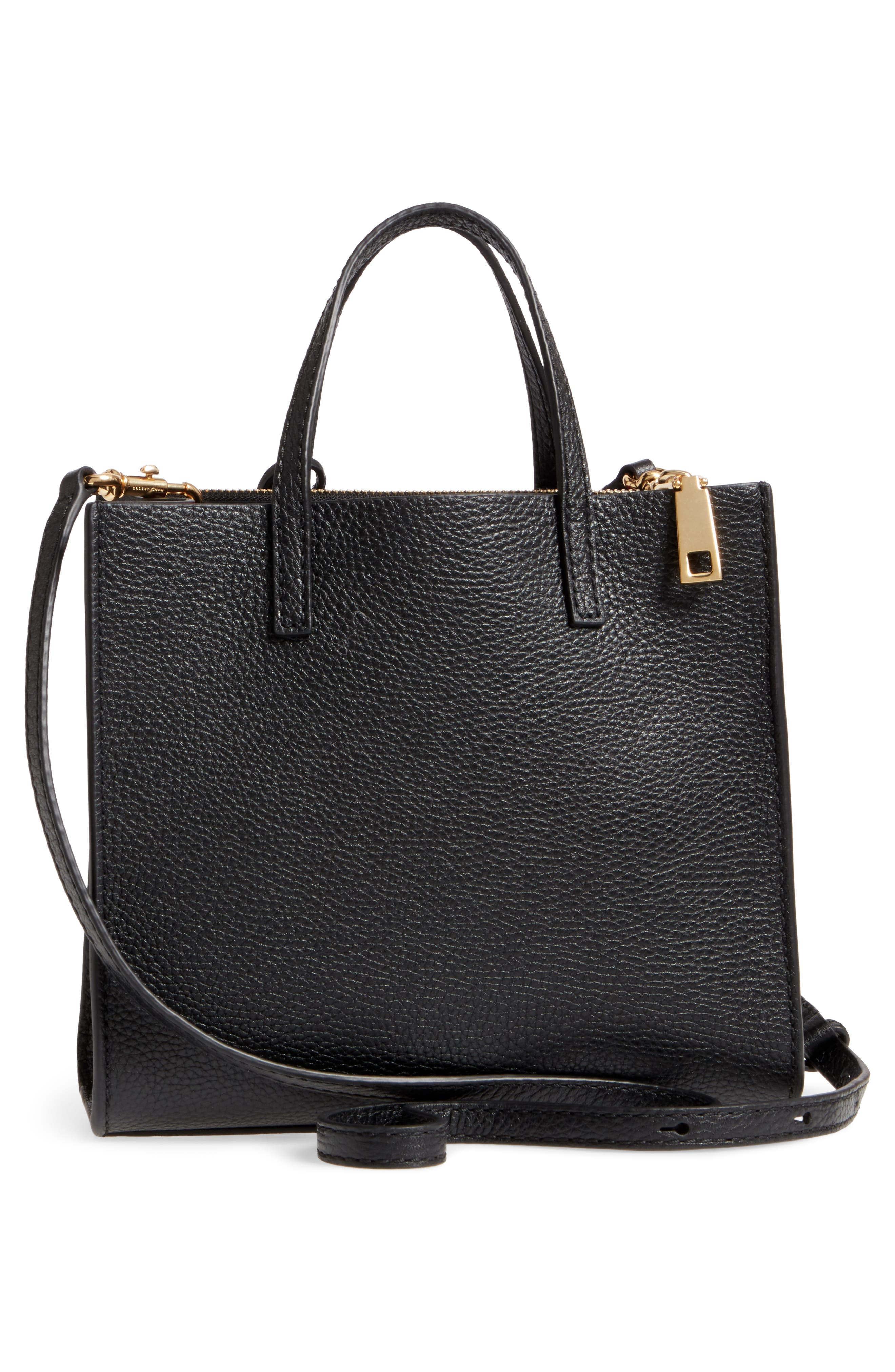 The Grind Mini Pompom Leather Tote,                             Alternate thumbnail 3, color,                             001