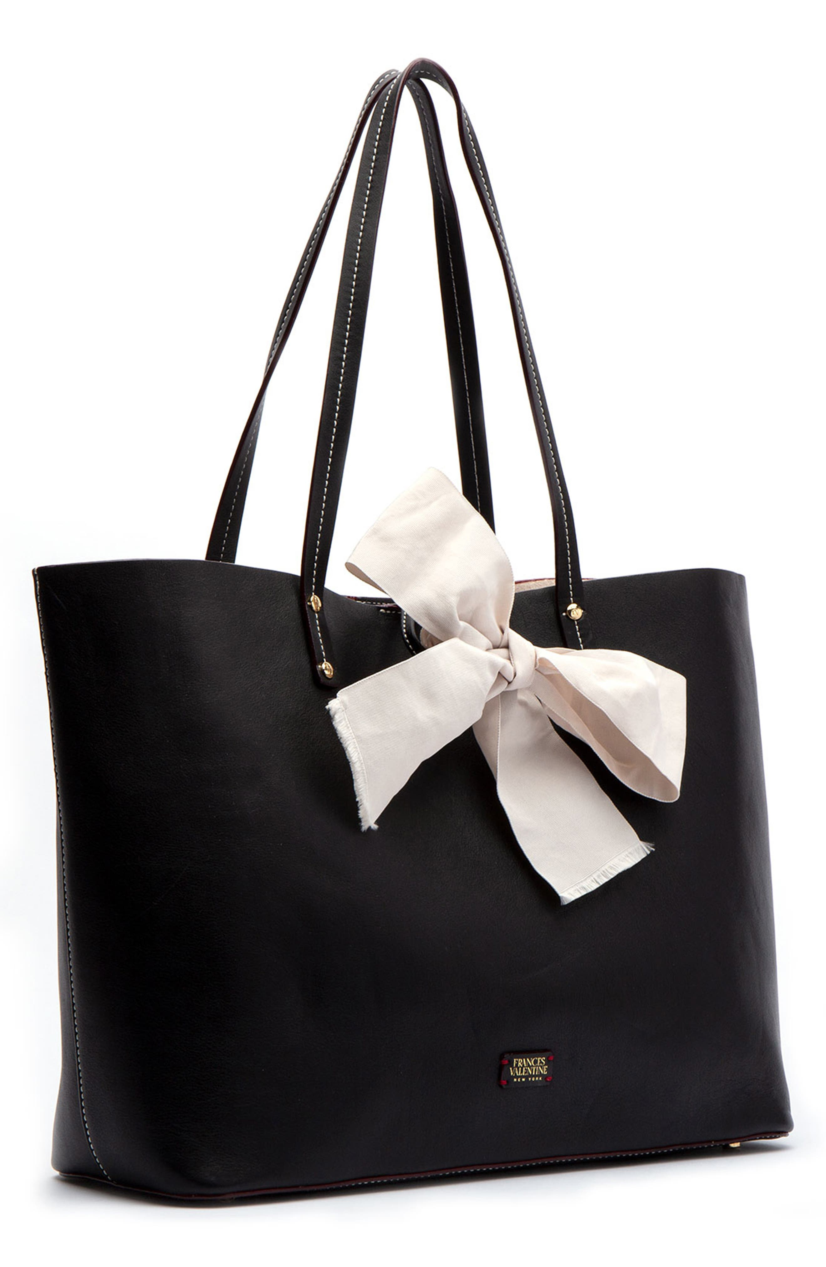 Trixie Leather Tote,                             Alternate thumbnail 3, color,                             BLACK/ OYSTER