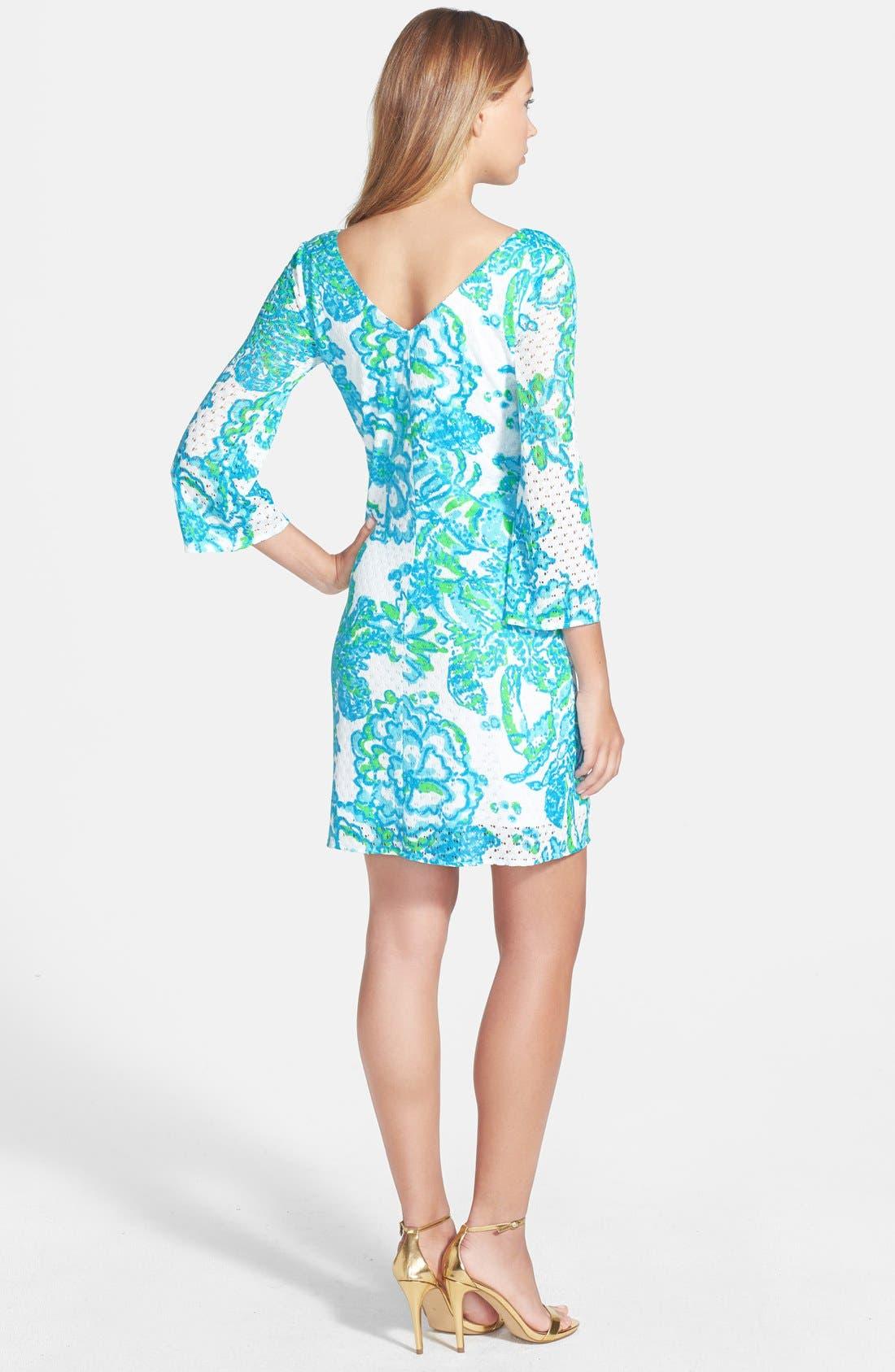 'Alden' Print Mesh Lace Shift Dress,                             Alternate thumbnail 4, color,                             440