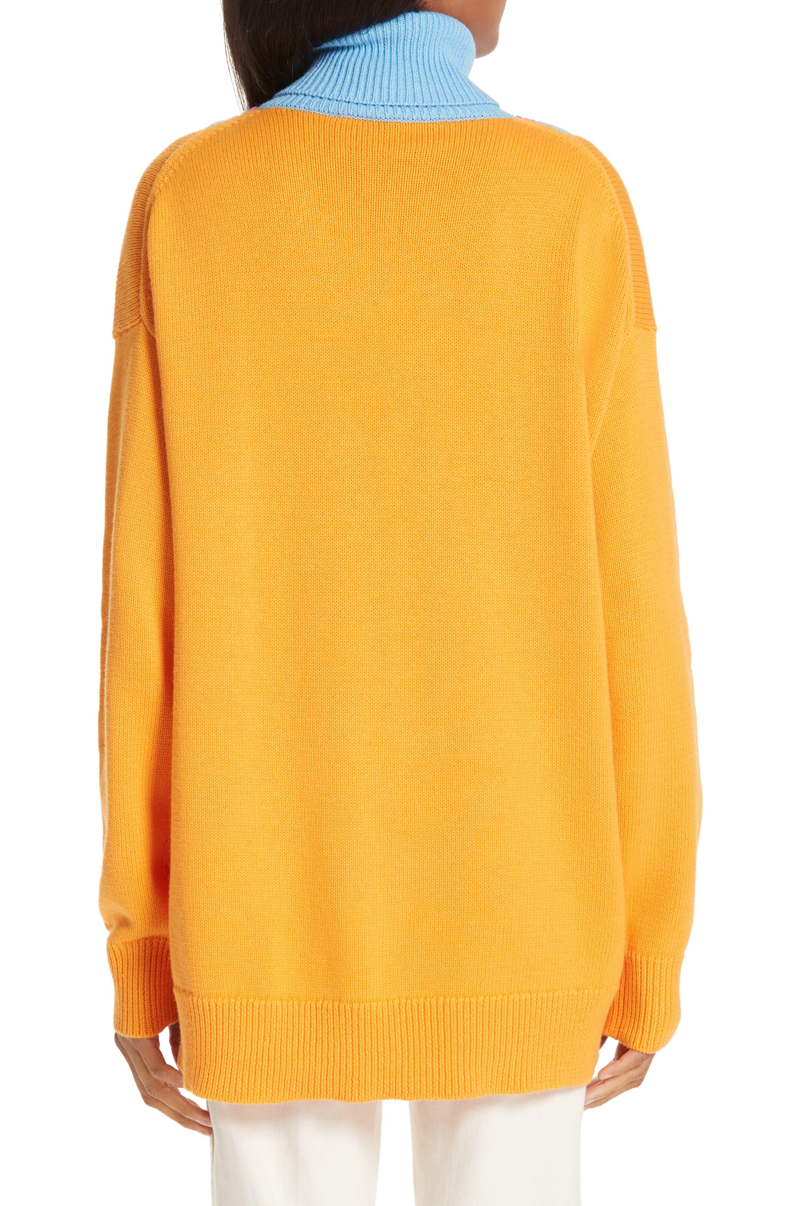 VICTOR GLEMAUD,                             Layered Cotton & Cashmere Turtleneck Sweater,                             Alternate thumbnail 2, color,                             ORANGE COMBO