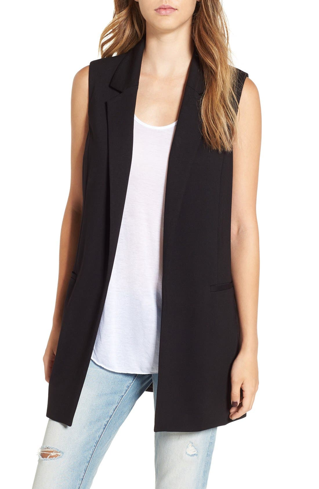 Stretch Ponte Long Vest,                         Main,                         color, 001