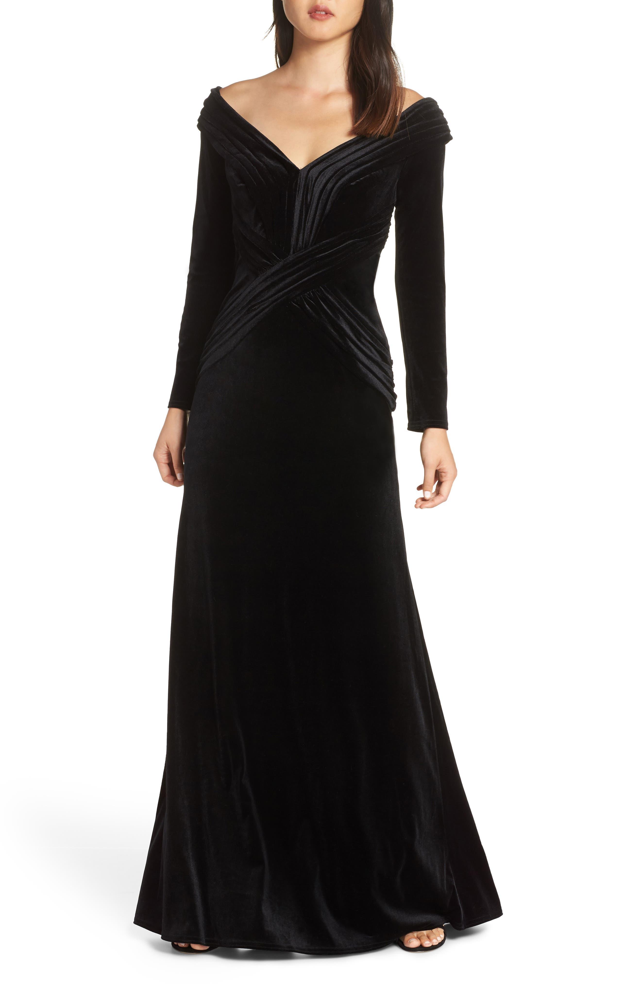 Tadashi Shoji Off-Shoulder Velvet Gown, Black