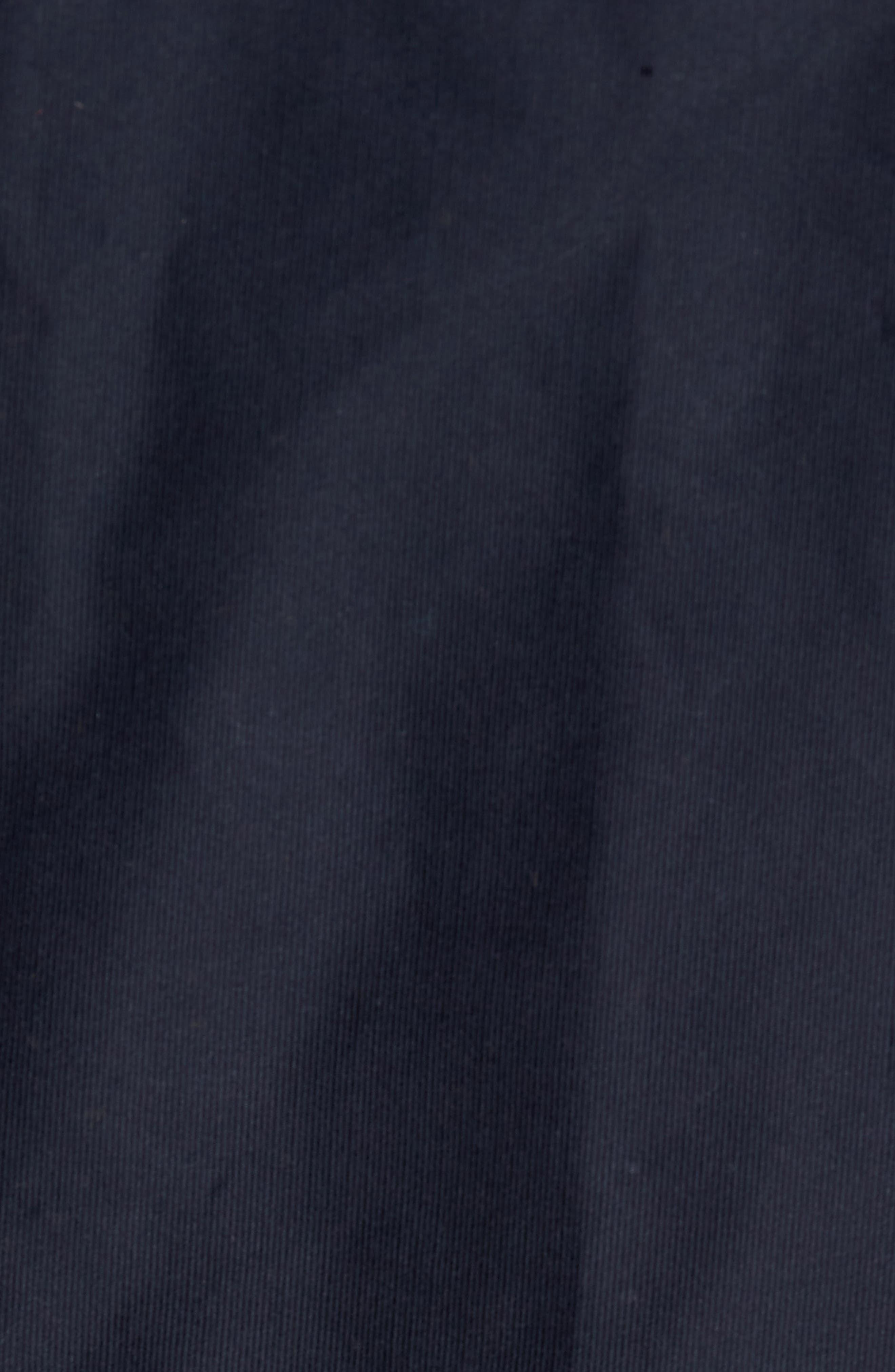Faux Fur Collar Water-Repellent Corduroy Down Jacket,                             Alternate thumbnail 6, color,                             NAVY