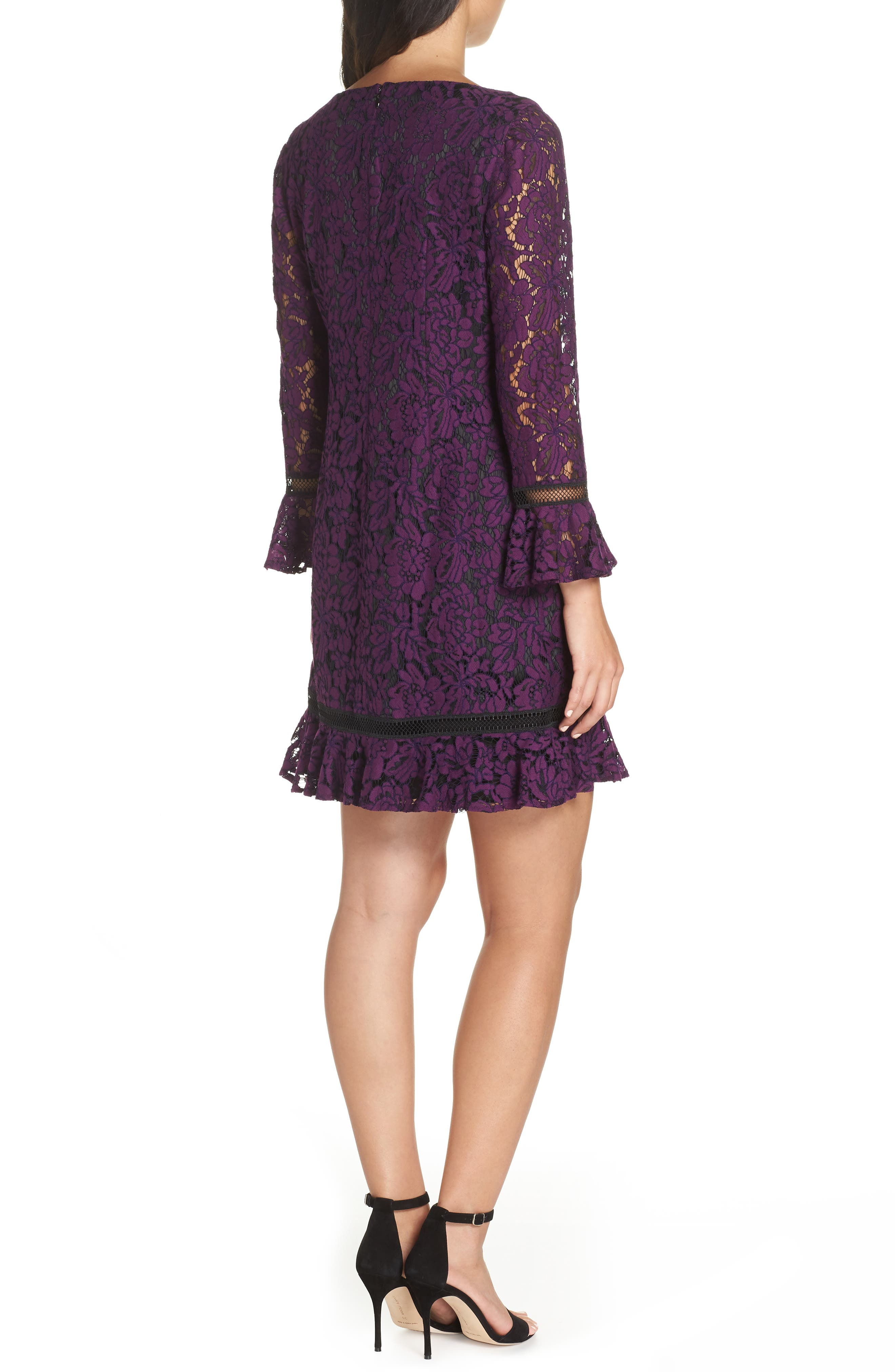 Flare Sleeve Lace Shift Dress,                             Alternate thumbnail 4, color,