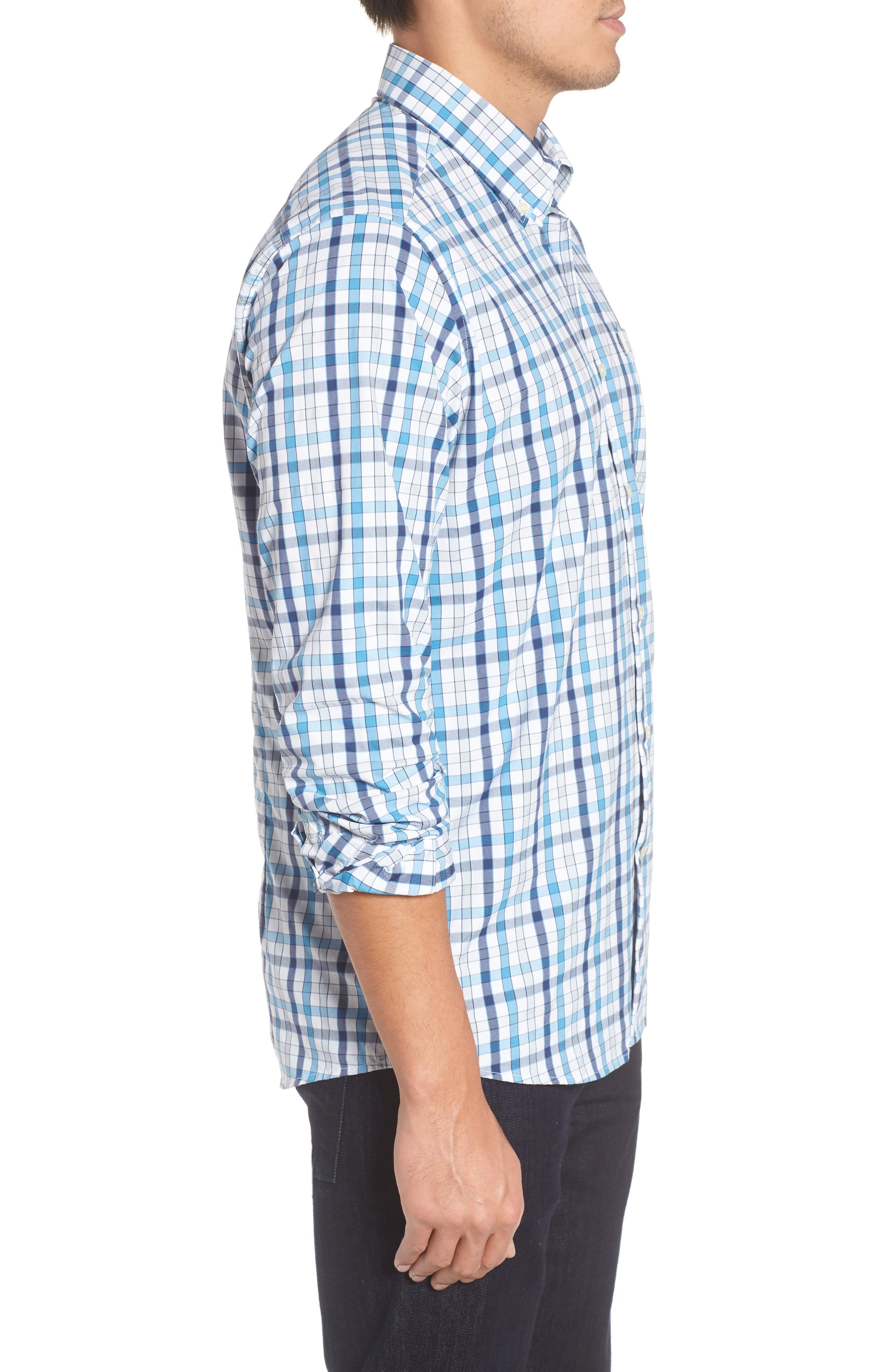 Fell Performance Regular Fit Stretch Check Sport Shirt,                             Alternate thumbnail 9, color,