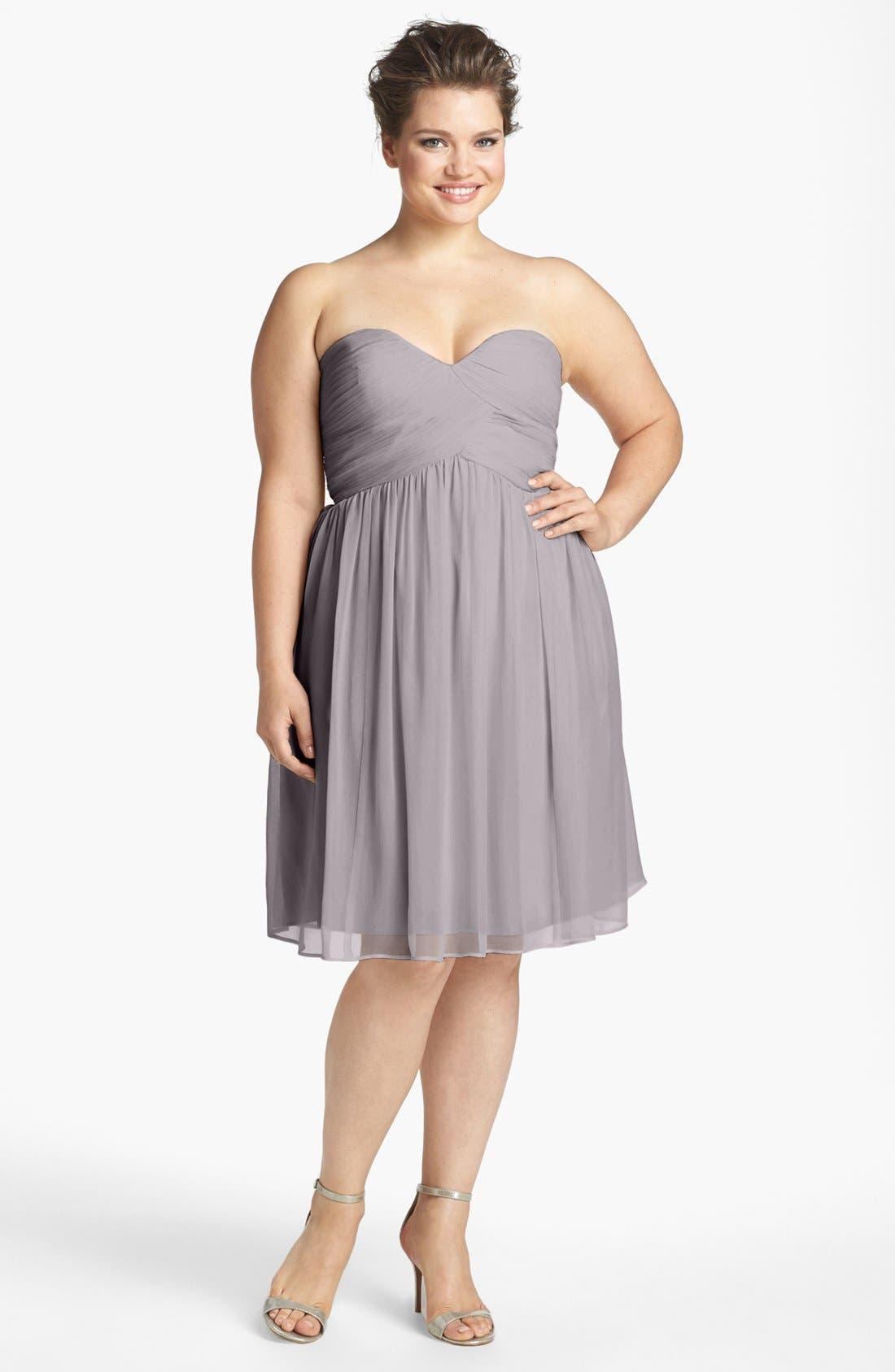 'Morgan' Strapless Silk Chiffon Dress,                             Main thumbnail 3, color,