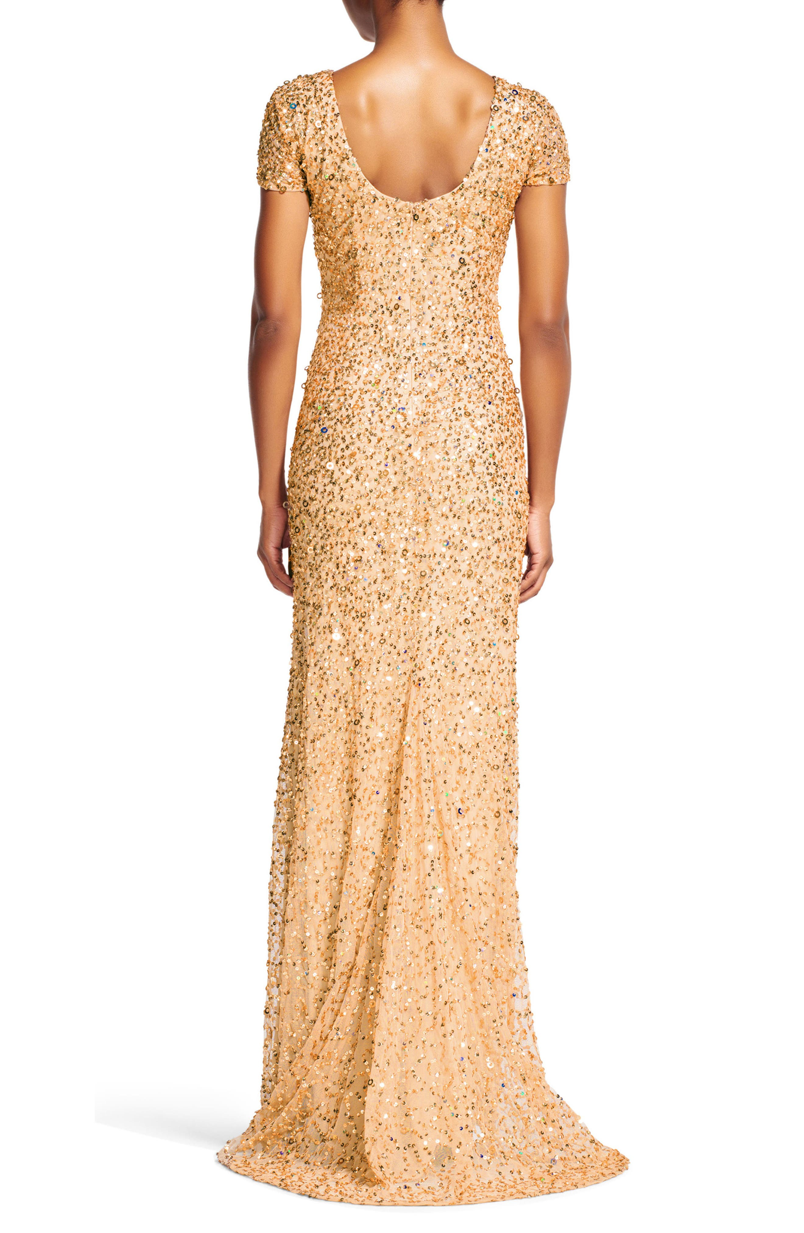 Short Sleeve Sequin Mesh Gown,                             Alternate thumbnail 2, color,                             CHAMPAGNE/ GOLD