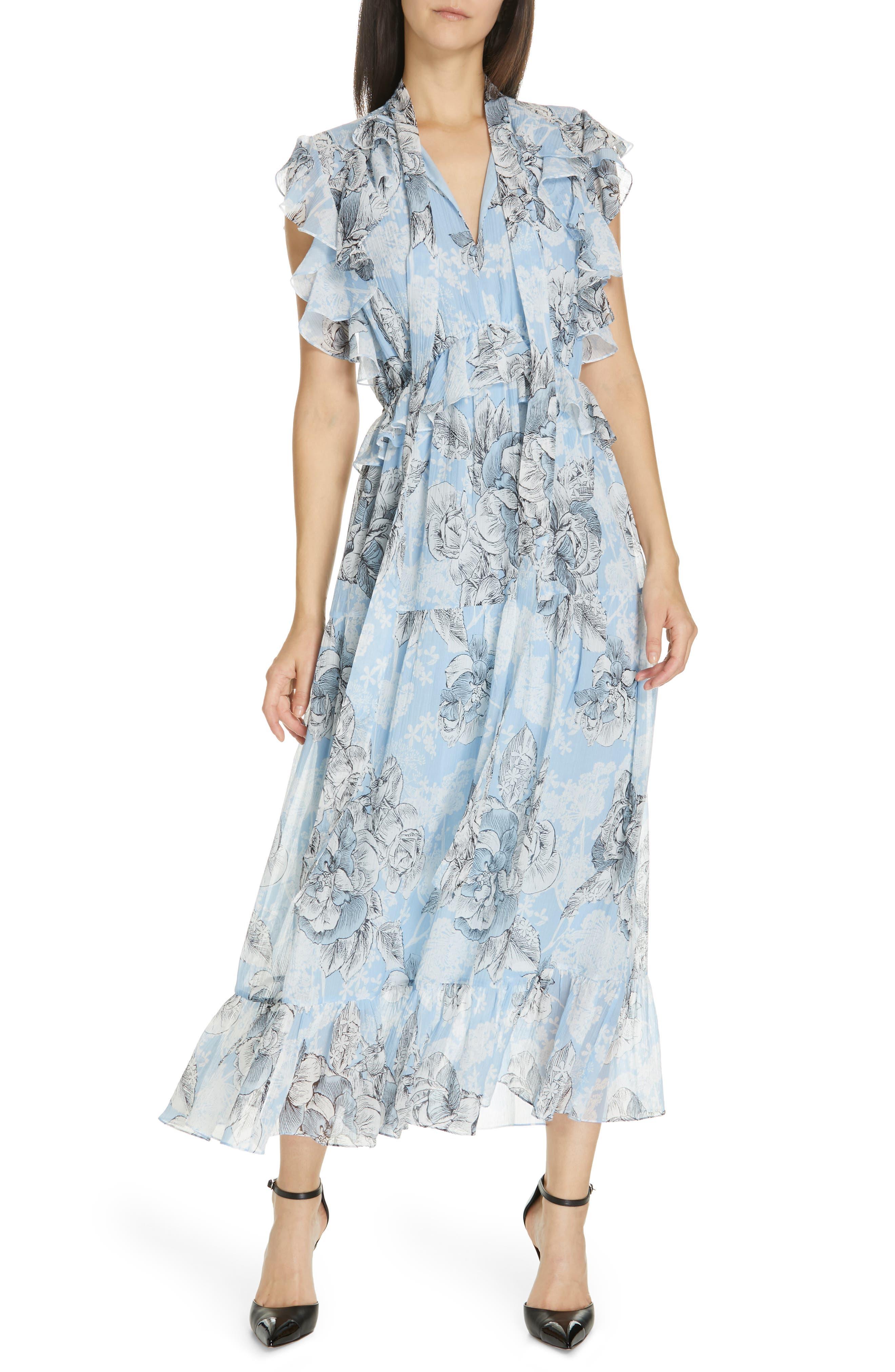 ROBERT RODRIGUEZ Clara Ruffle Cotton & Silk Midi Dress in Blue Floral