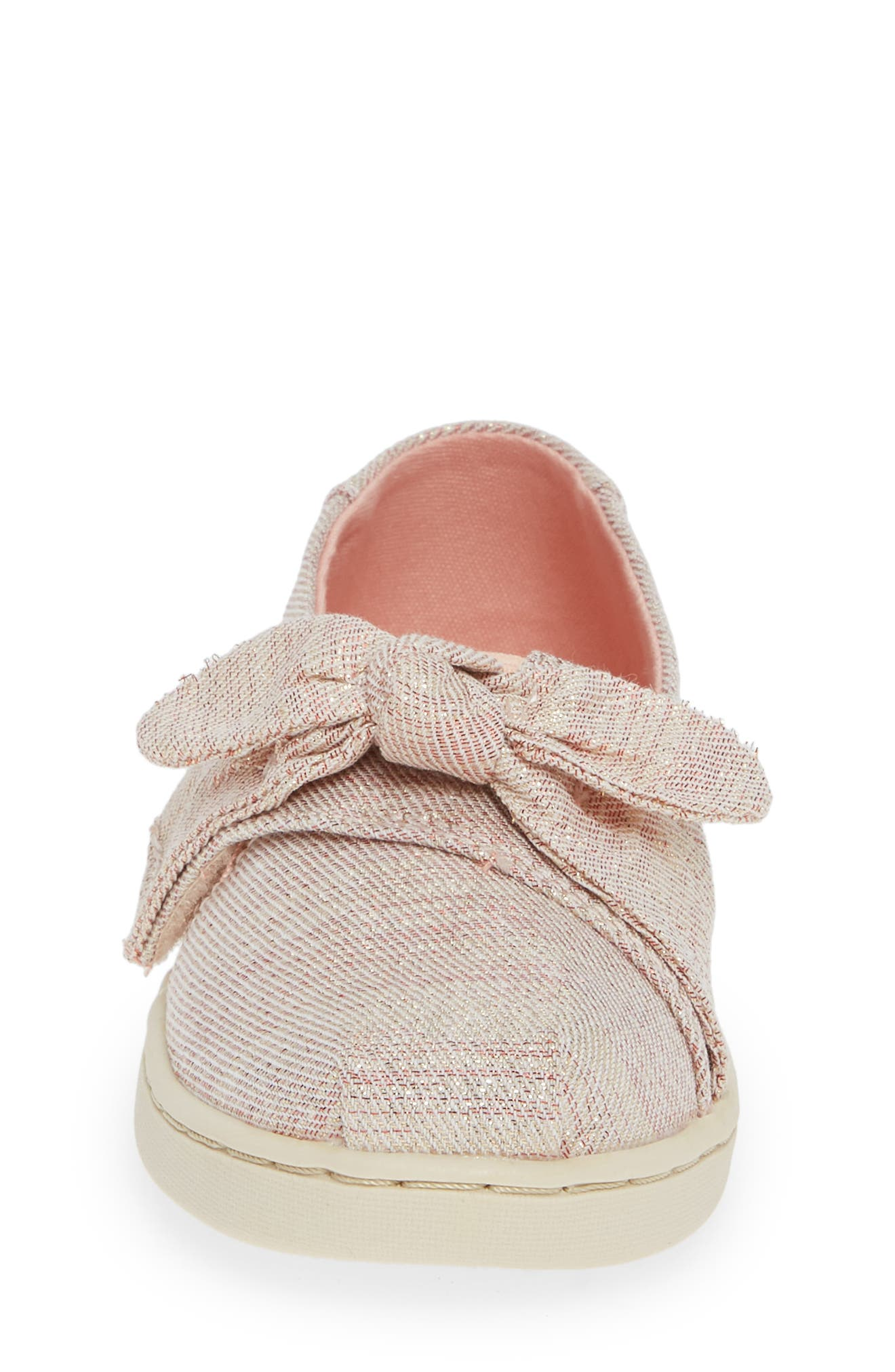 Tiny Bow Alpargata Slip-On,                             Alternate thumbnail 4, color,                             ROSE CLOUD TWILL GLIMMER