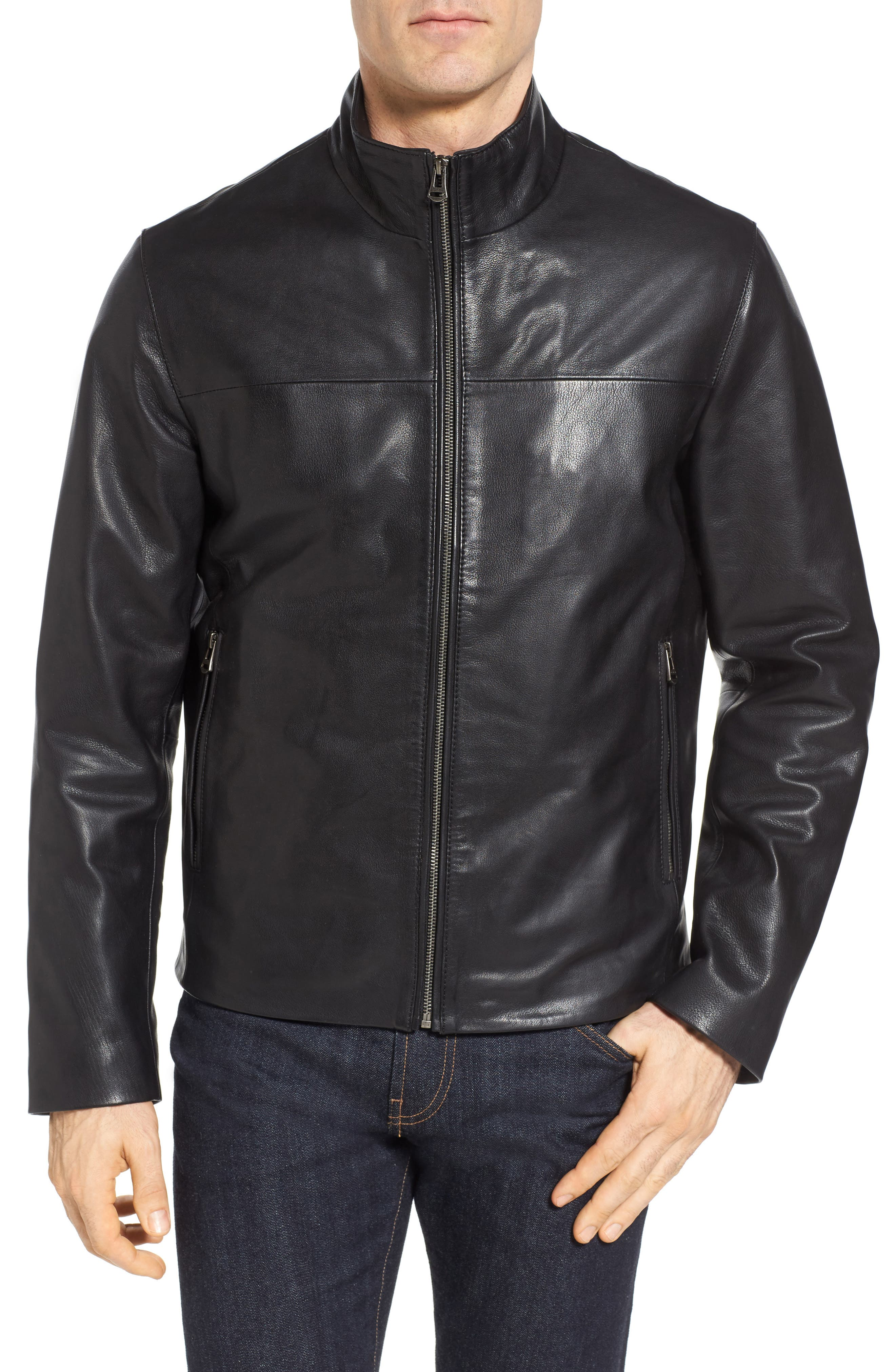 Washed Leather Jacket,                             Alternate thumbnail 4, color,                             001