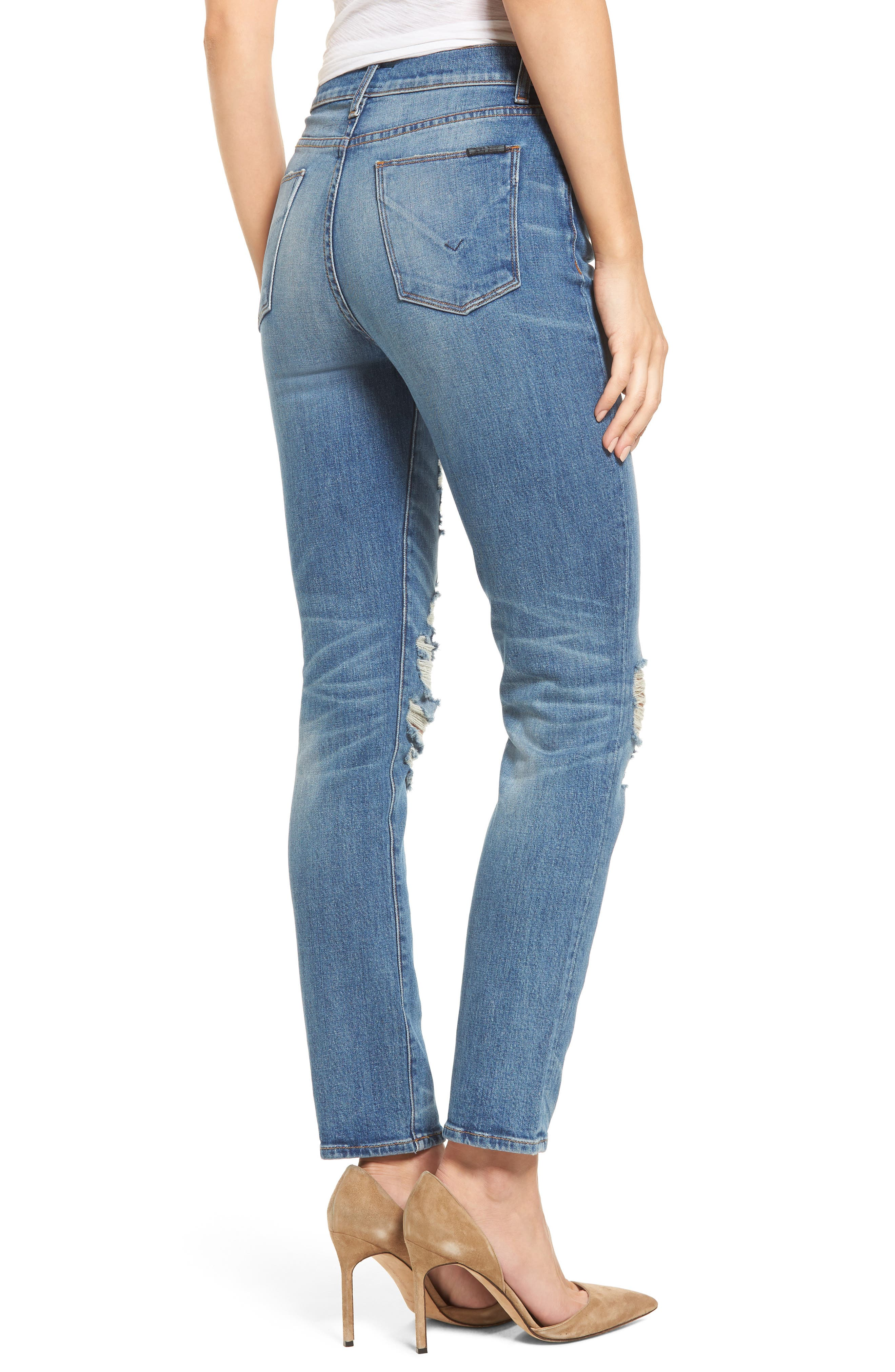 Zoeey High Waist Ankle Straight Leg Jeans,                             Alternate thumbnail 6, color,