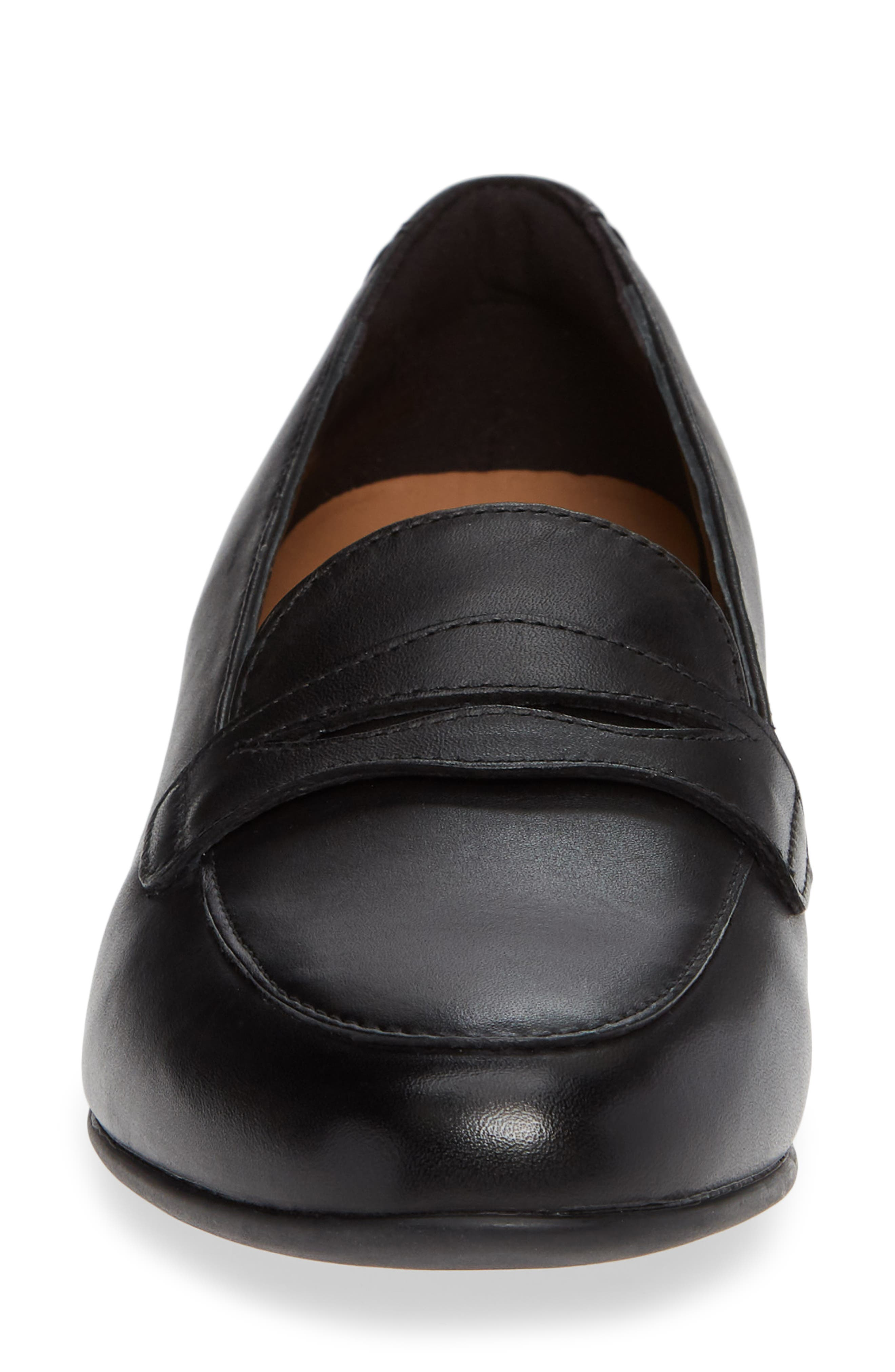 Un Blush Go Penny Loafer,                             Alternate thumbnail 4, color,                             BLACK LEATHER
