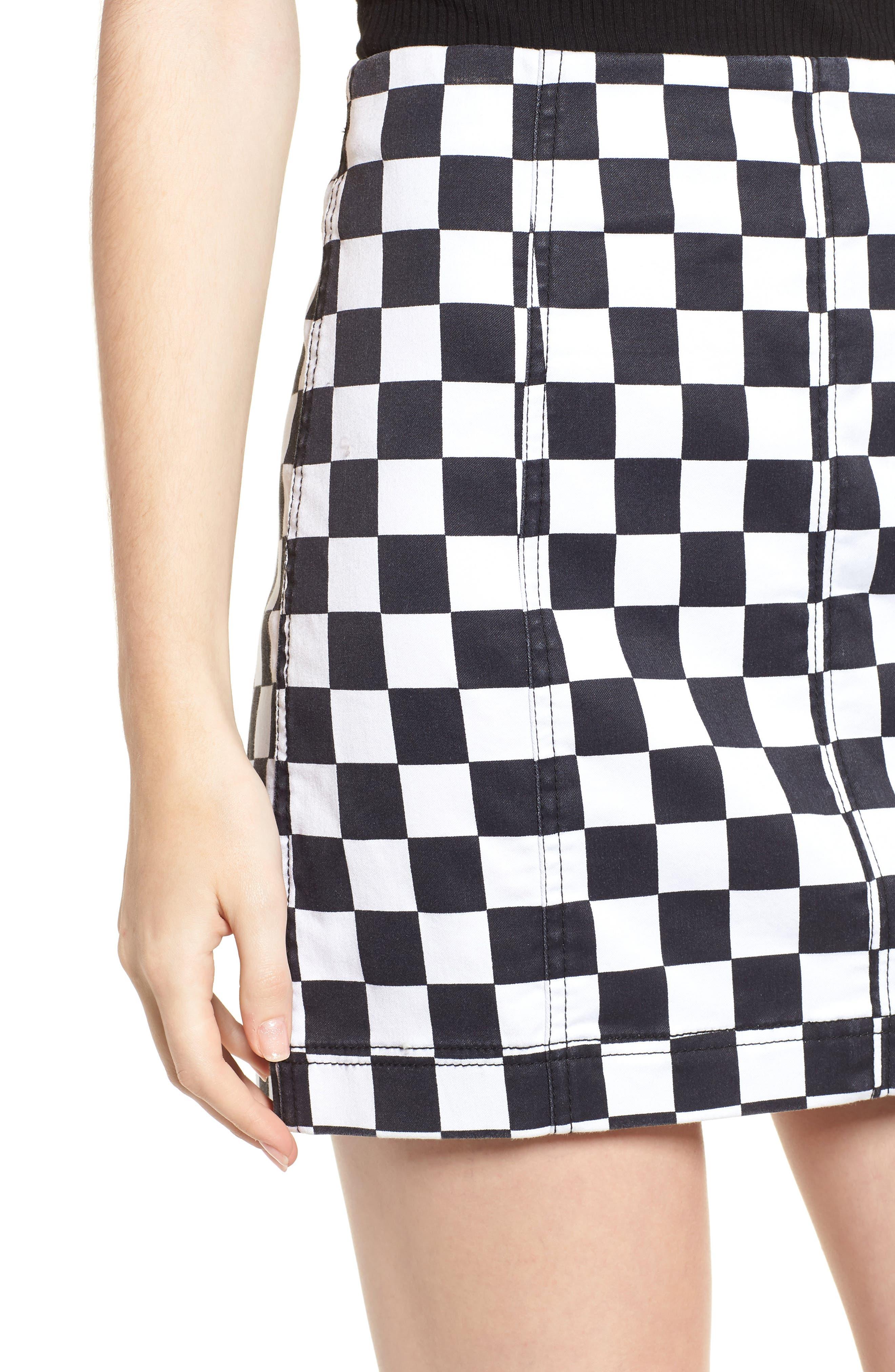 Checkered Denim Miniskirt,                             Alternate thumbnail 4, color,                             BLACK/ WHITE CHECKERED