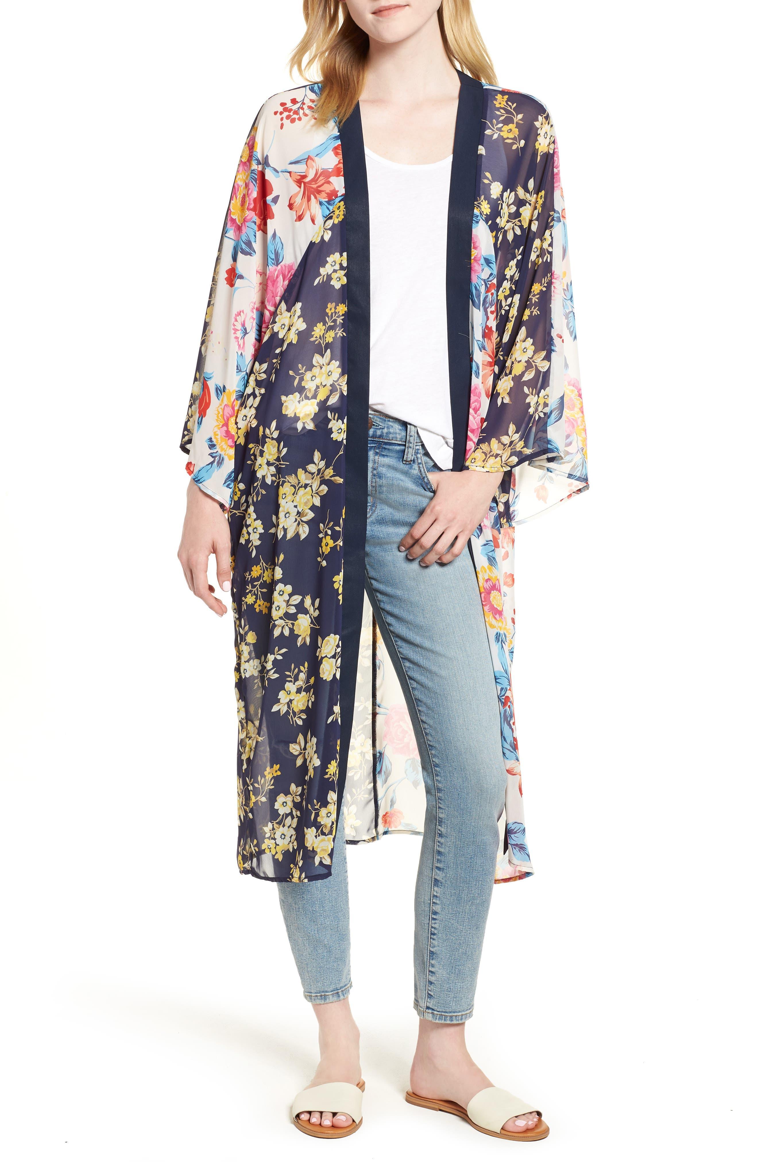 Mix Print Kimono,                         Main,                         color, MULTI COMBO