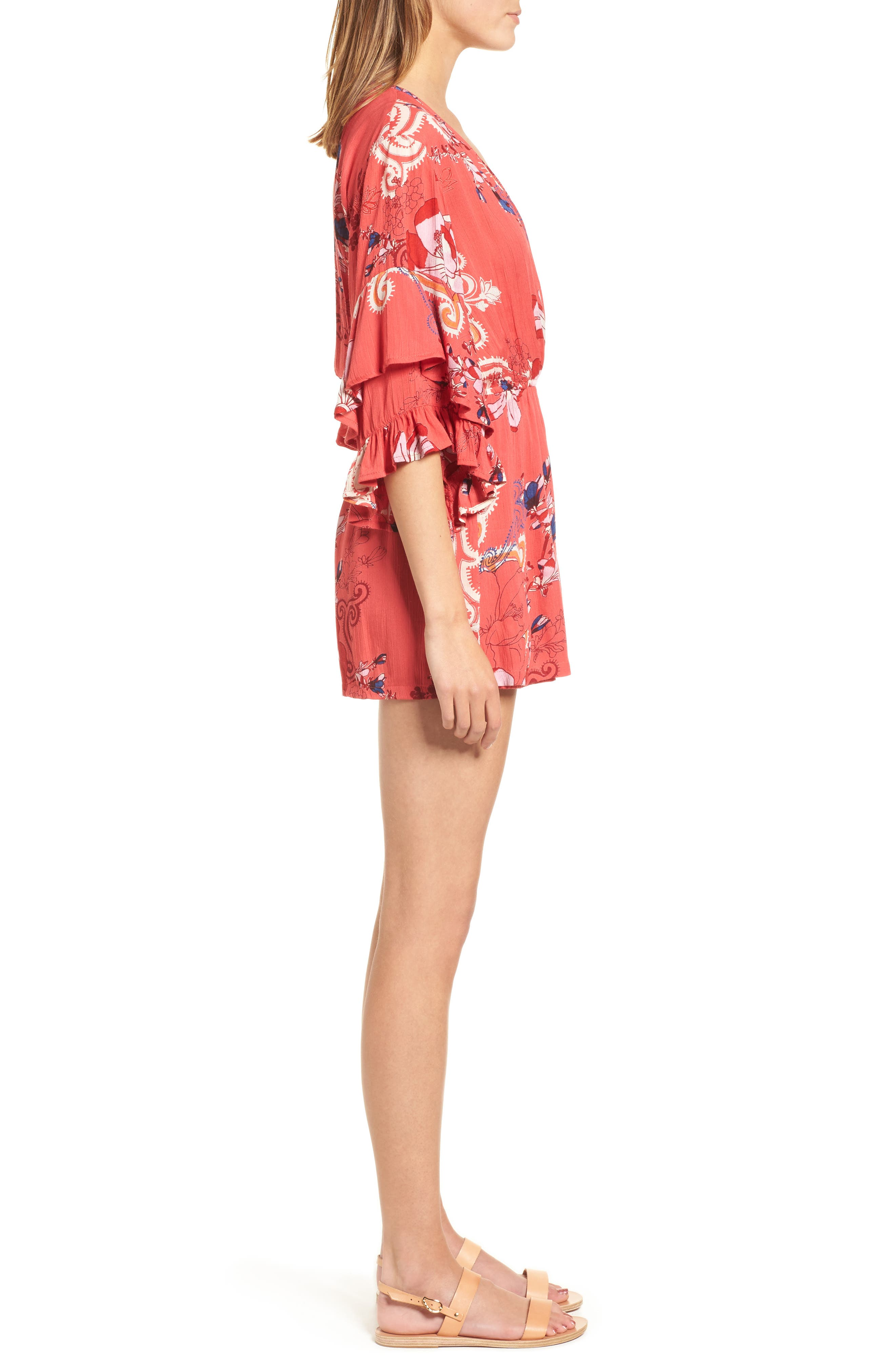 Print Ruffle Surplice Romper,                             Alternate thumbnail 6, color,