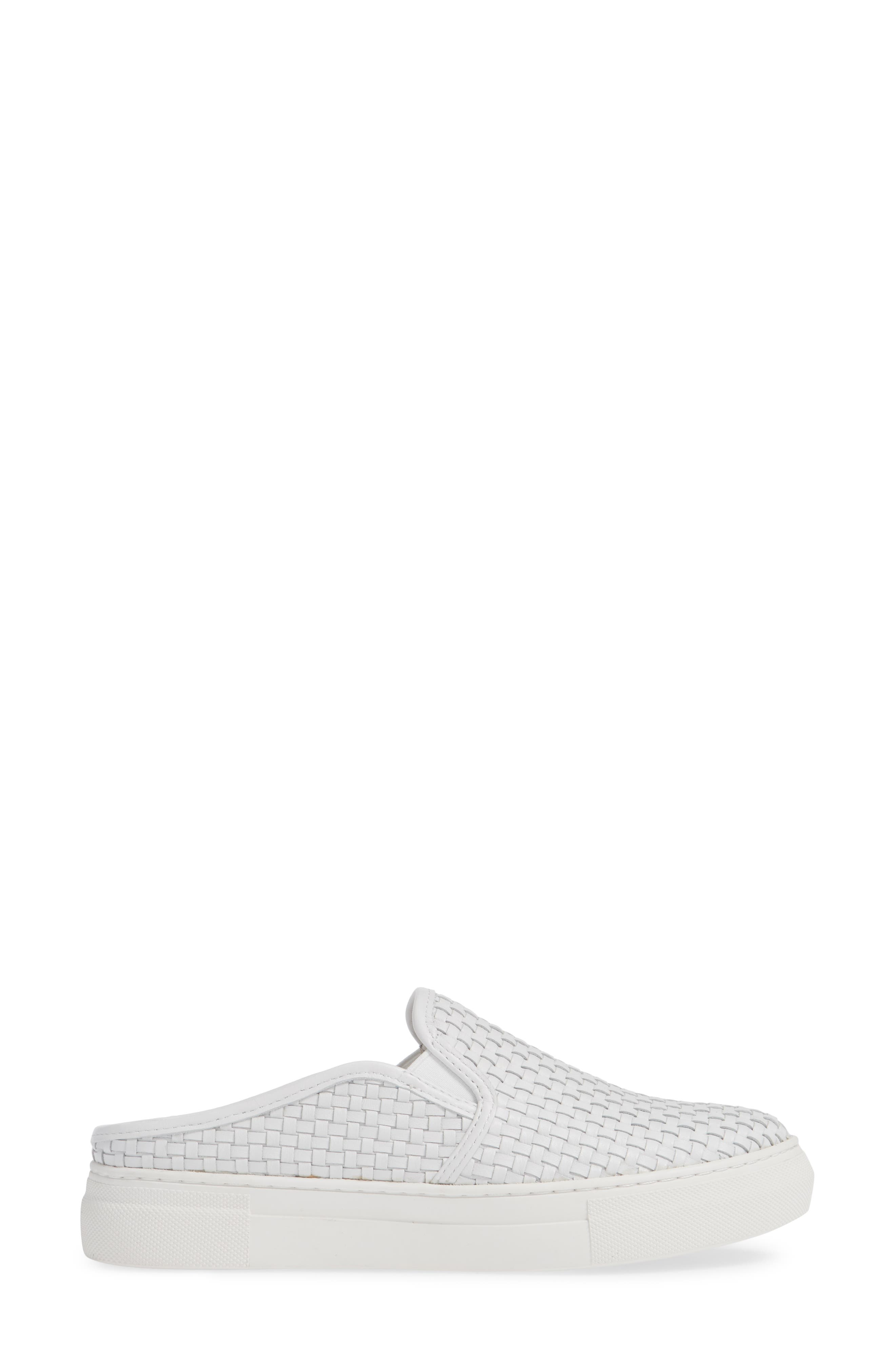 Fiona Woven Mule,                             Alternate thumbnail 3, color,                             WHITE LEATHER