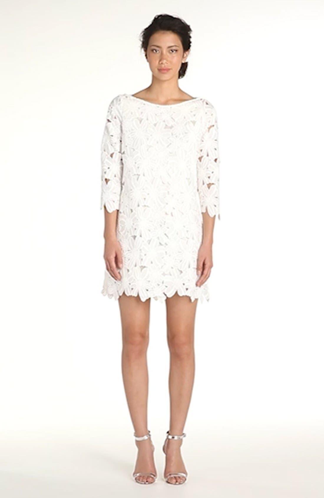 Belza Floral Lace Shift Dress,                             Alternate thumbnail 12, color,                             100