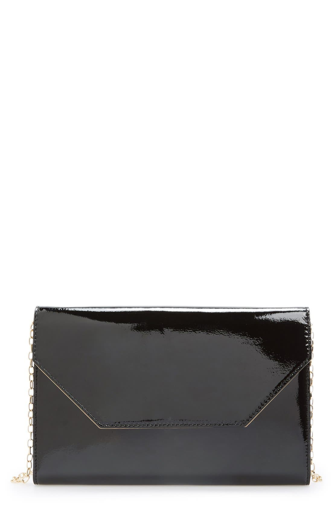 Patent Leather Clutch,                             Main thumbnail 1, color,                             001