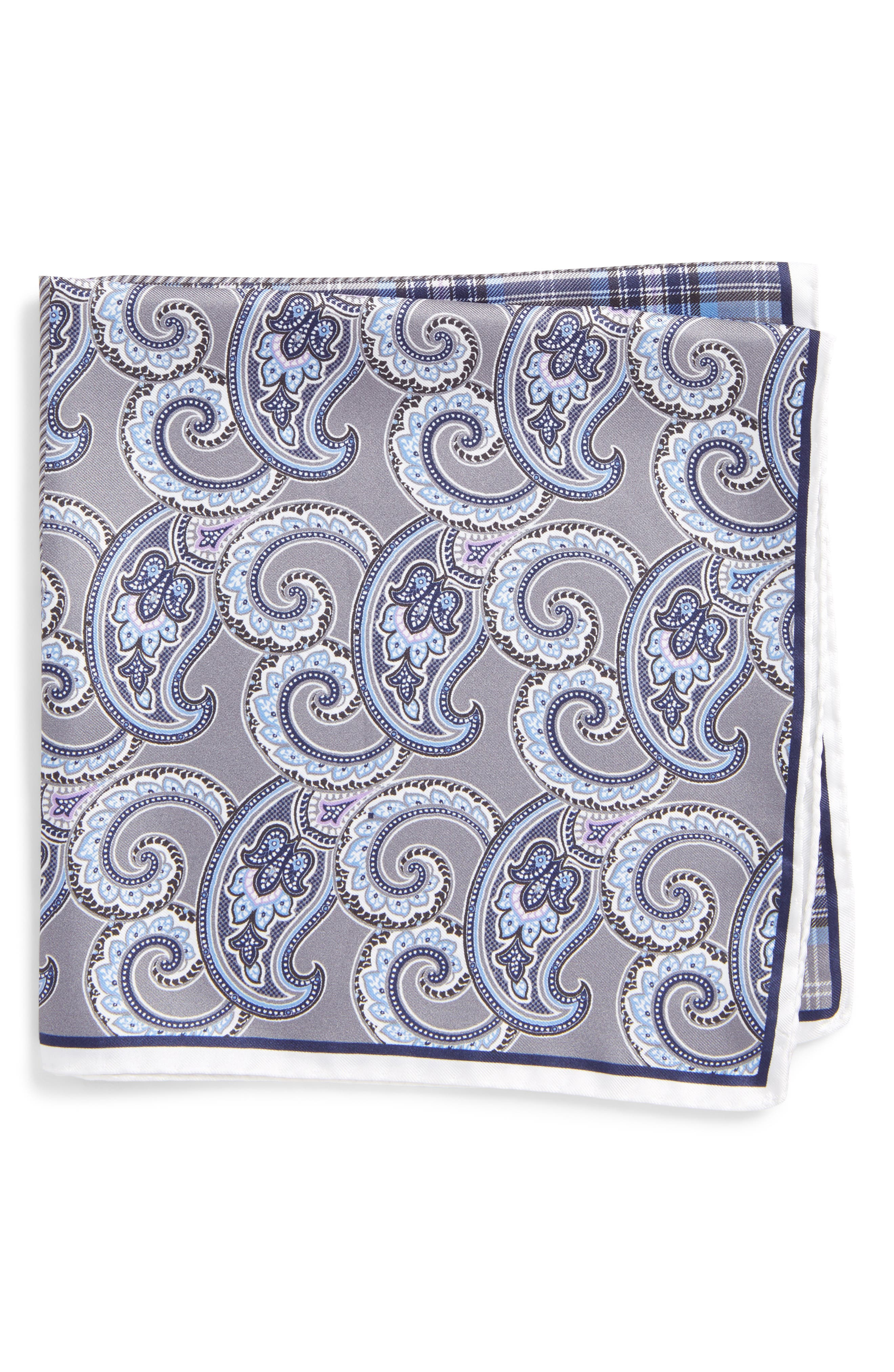 Four Panel Silk Pocket Square,                         Main,                         color, GRAY