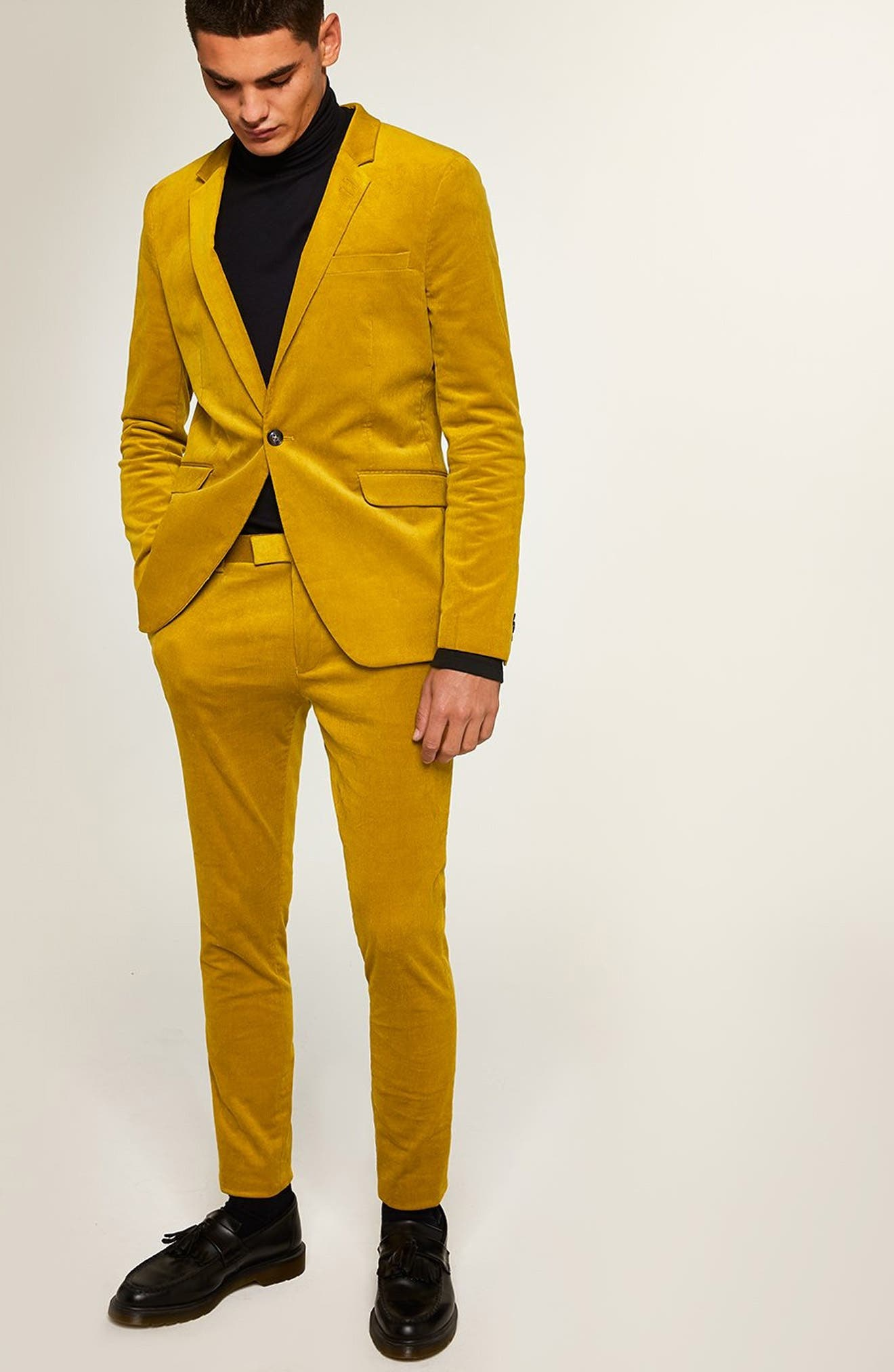 Super Skinny Fit Corduroy Trousers,                             Alternate thumbnail 5, color,                             YELLOW