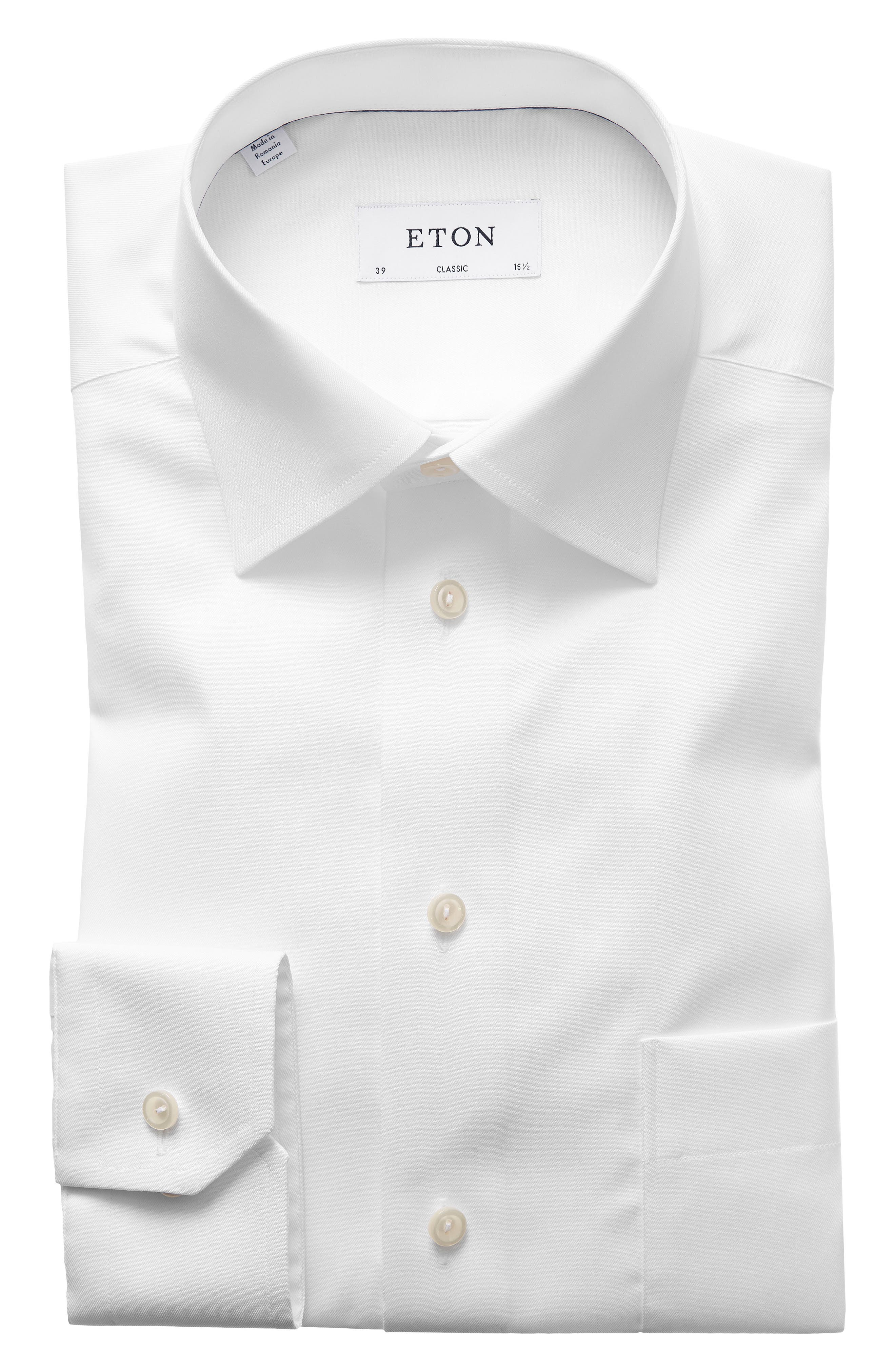 Classic Fit Twill Dress Shirt,                             Alternate thumbnail 2, color,                             WHITE