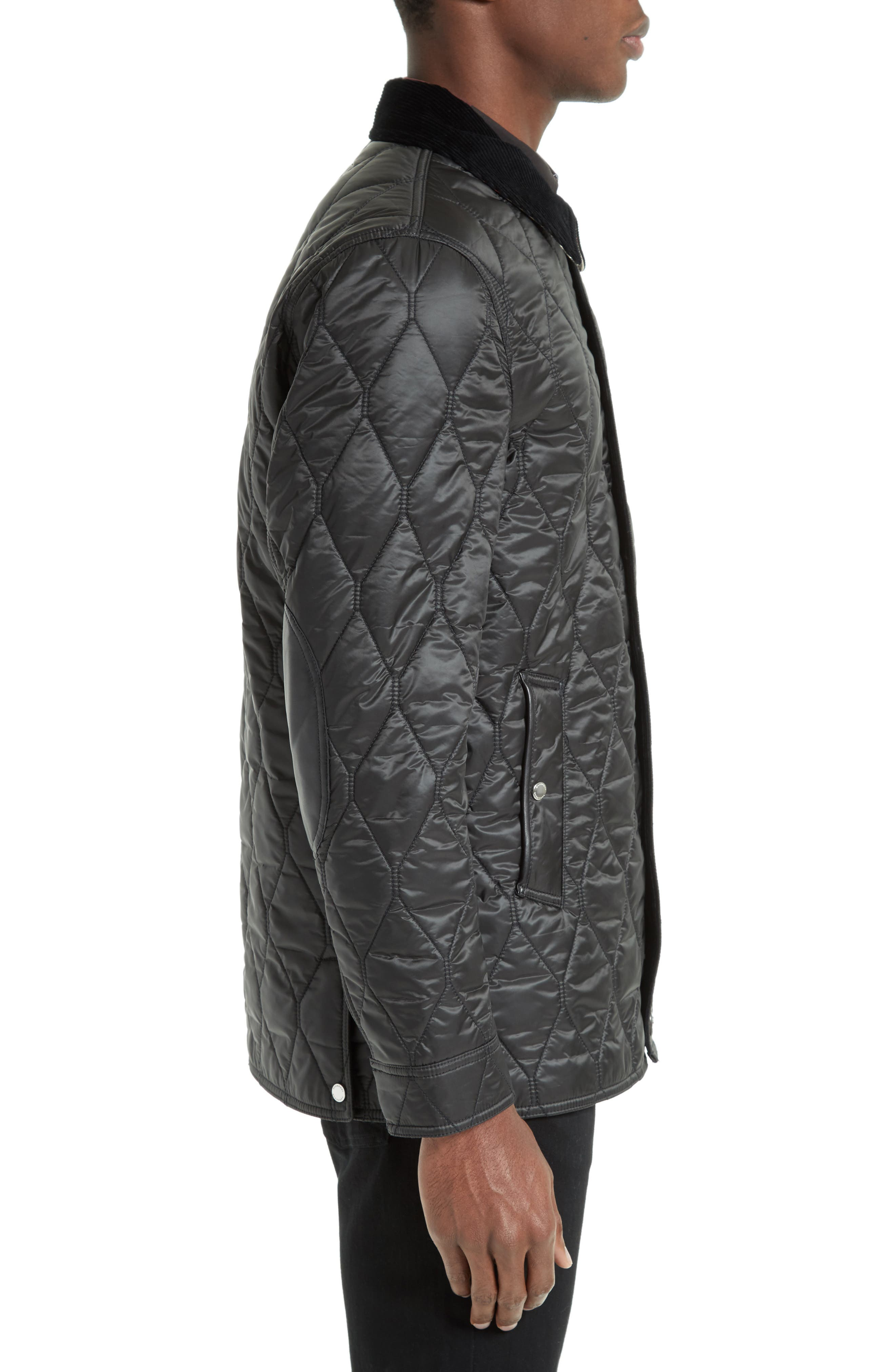 Gransworth Leather Elbow Patch Quilted Jacket,                             Alternate thumbnail 3, color,                             001
