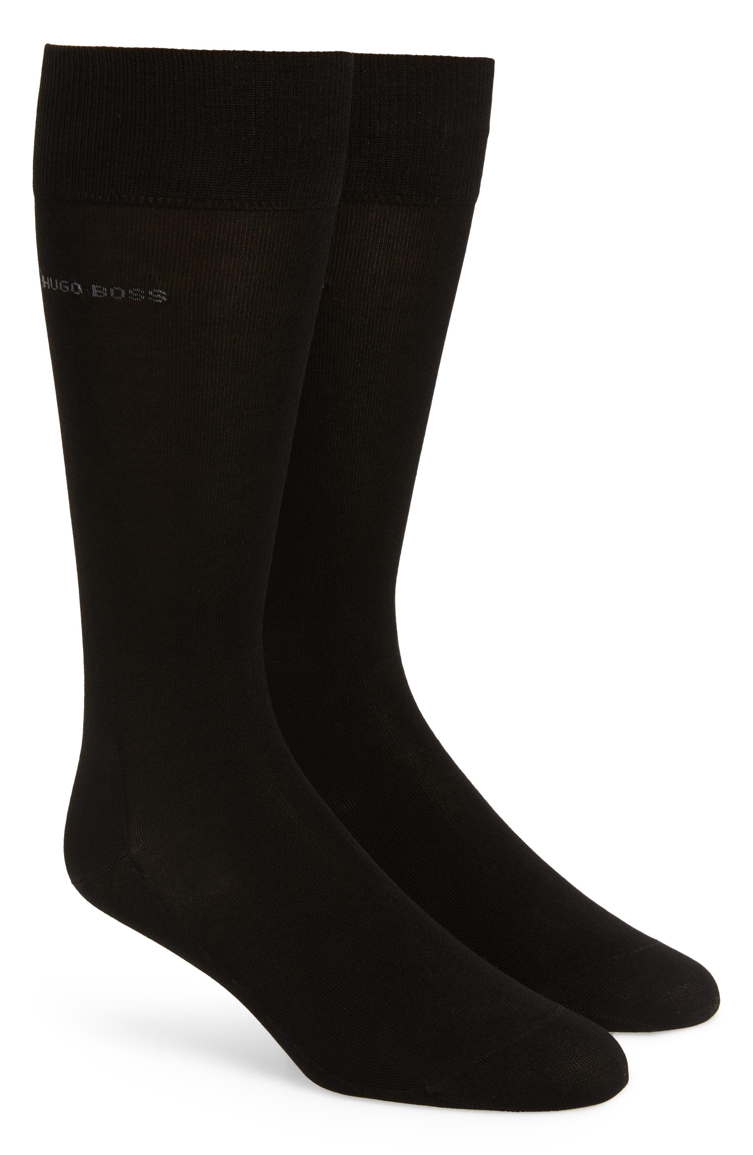 BOSS,                             2-Pack Solid Socks,                             Main thumbnail 1, color,                             BLACK