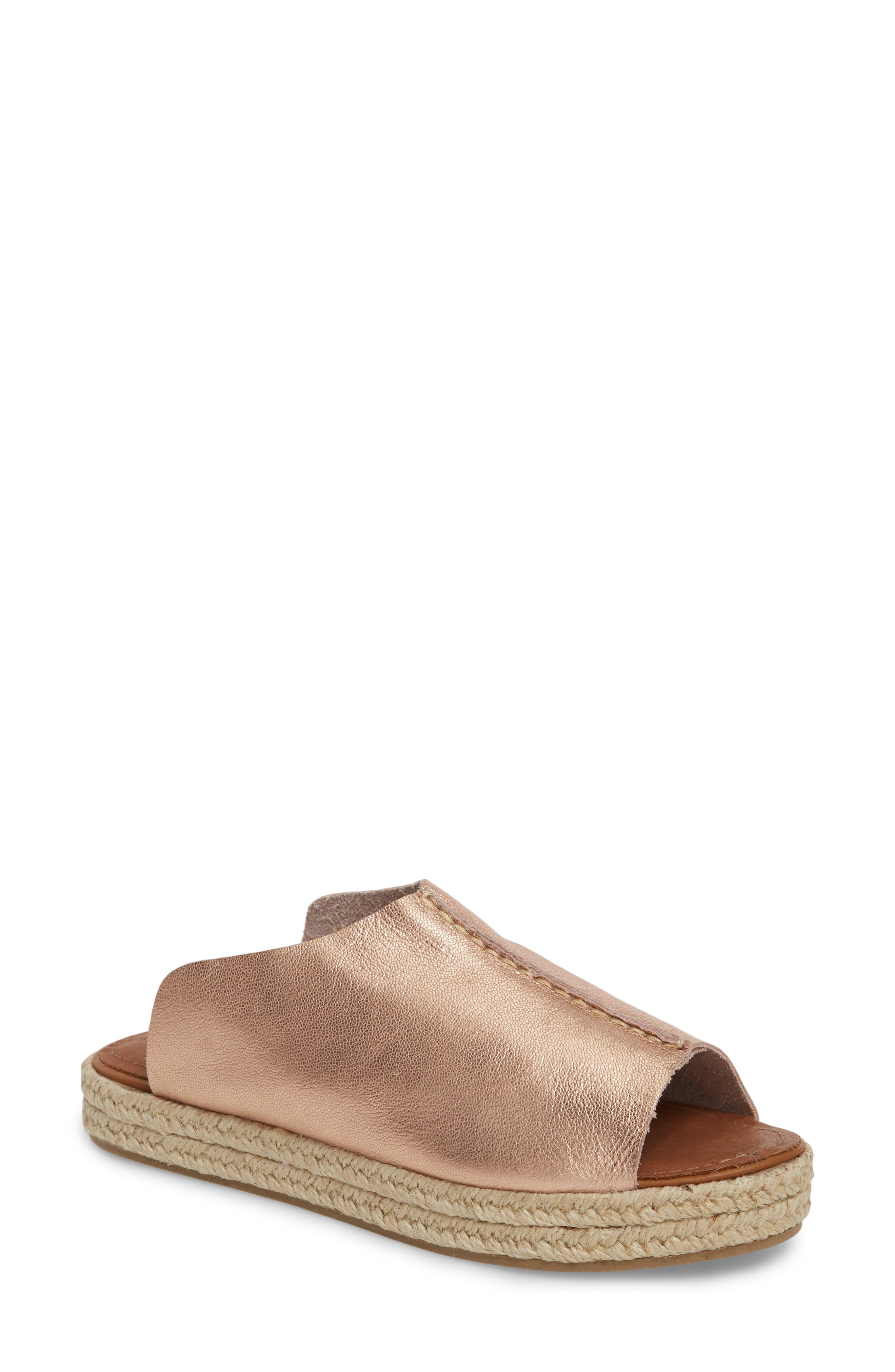 Gracey Espadrille Slide Sandal,                         Main,                         color, ROSE LEATHER
