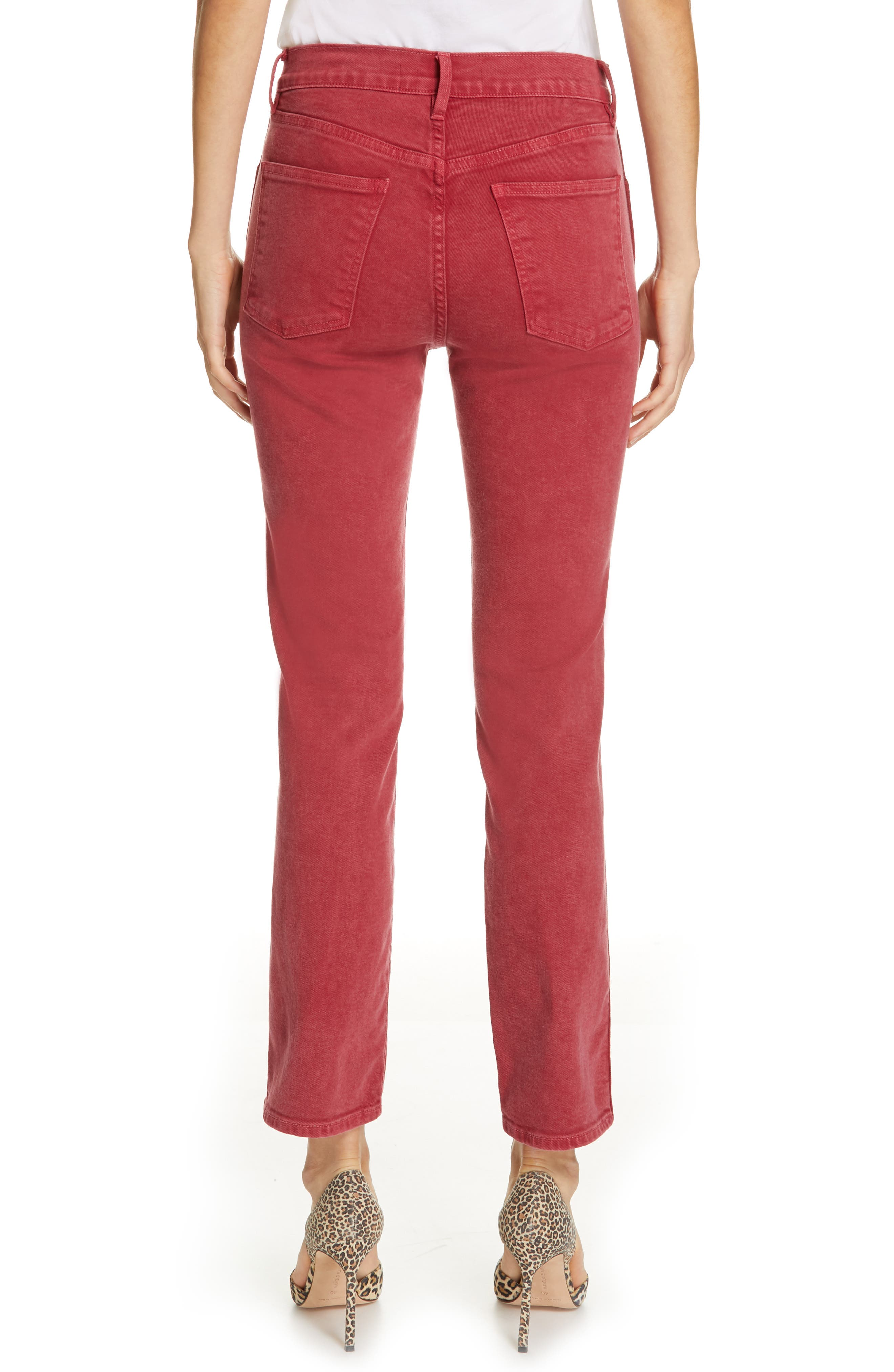 3X1 NYC,                             Stevie Straight Leg Jeans,                             Alternate thumbnail 2, color,                             MINERAL RUST RED