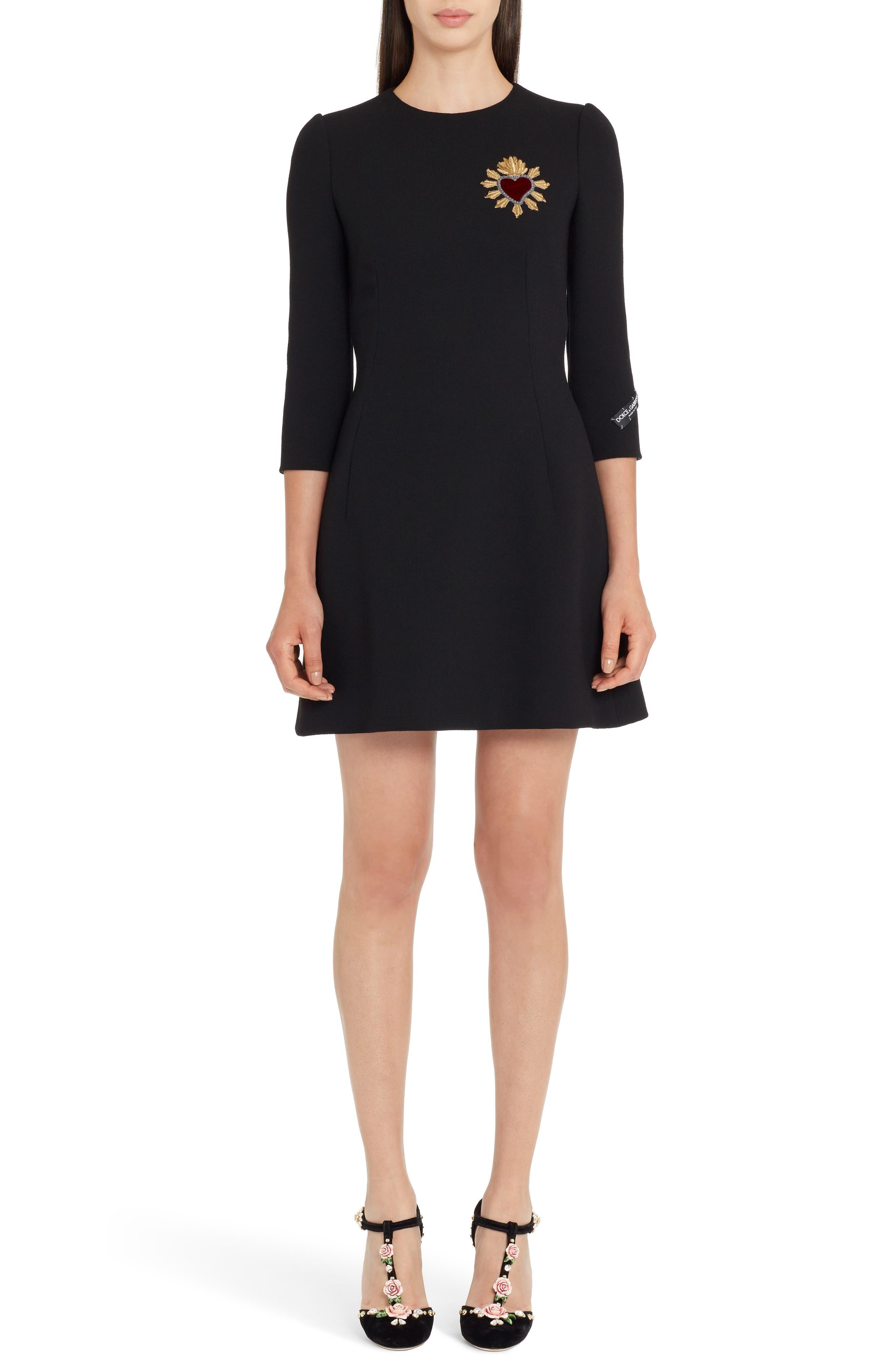 Dolce & gabbana Heart Patch Wool Crepe Dress, US / 42 IT - Black