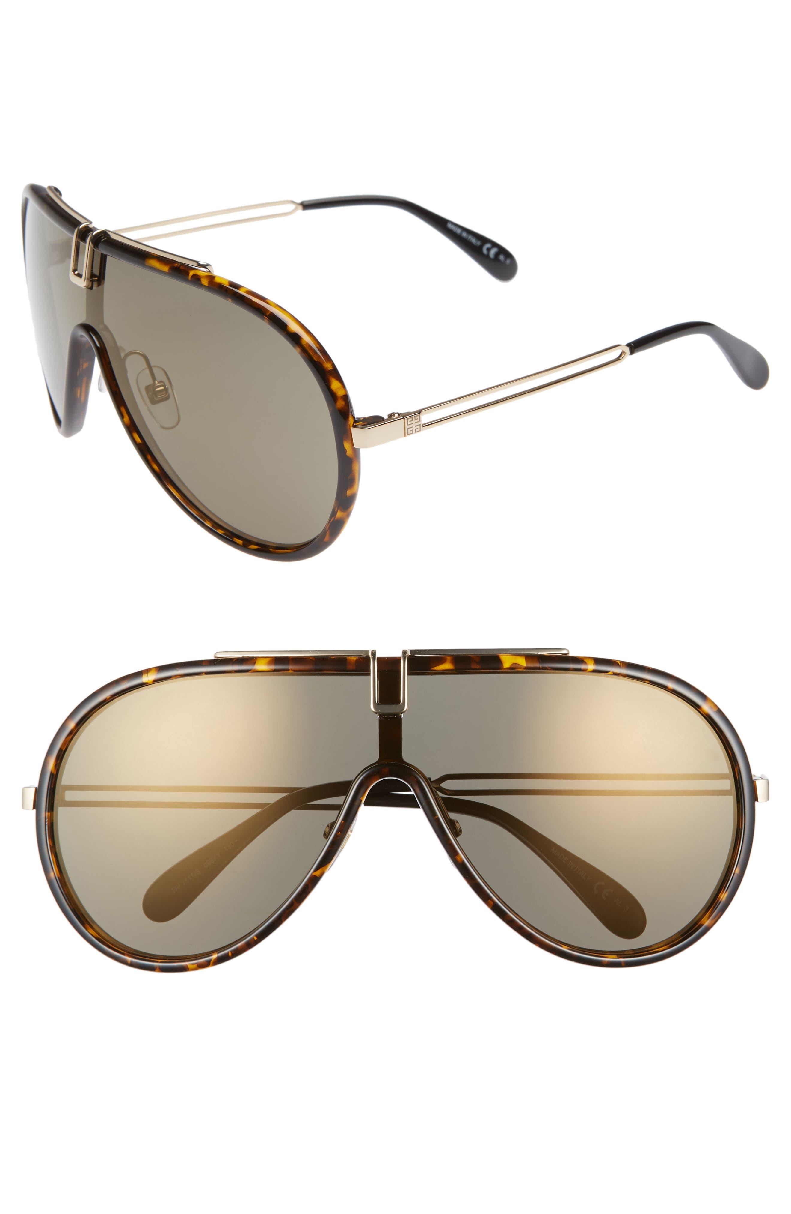 99mm Shield Sunglasses,                             Main thumbnail 1, color,                             DARK HAVANA