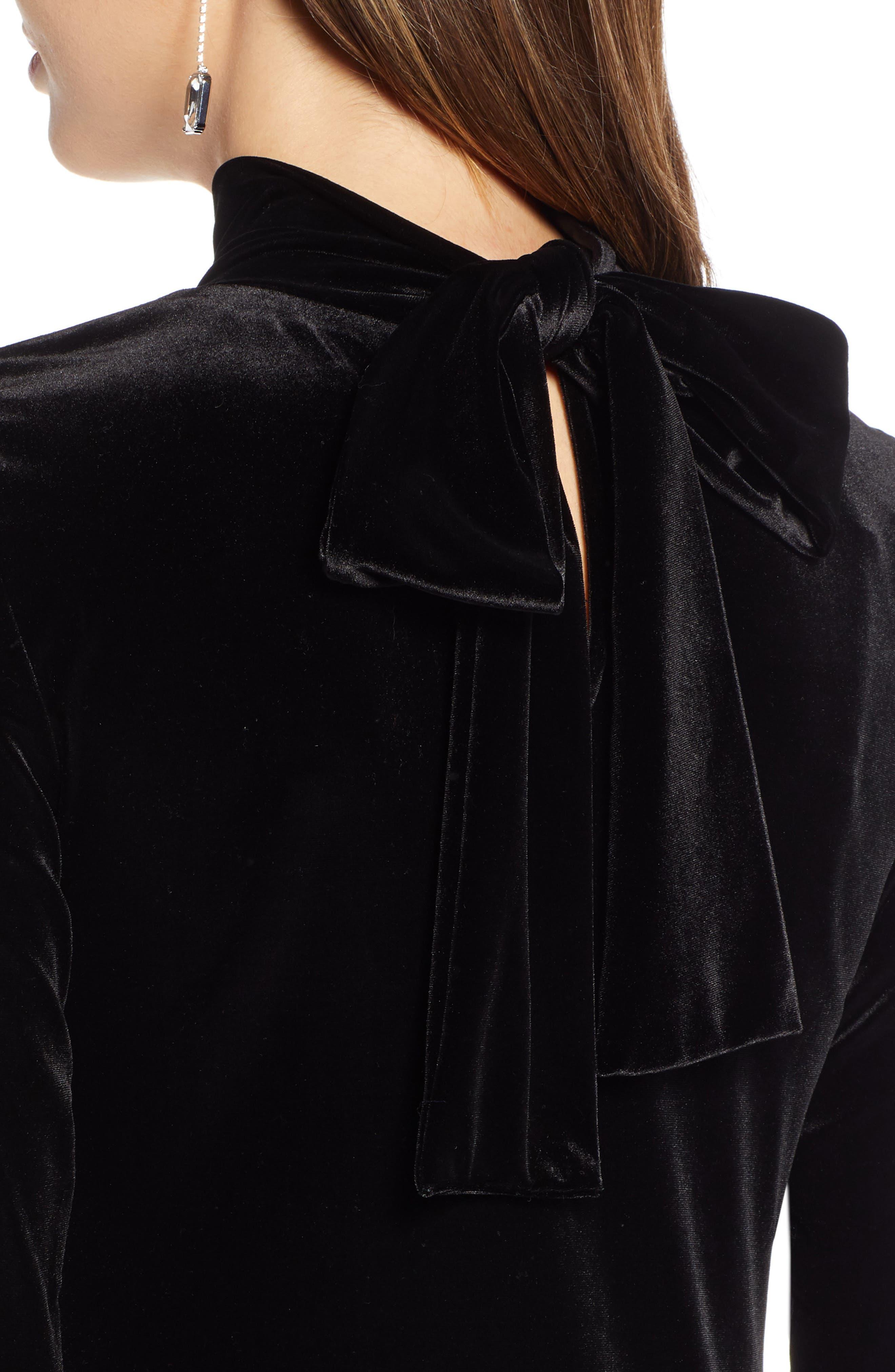 1901,                             Bow Back Stretch Velvet Dress,                             Alternate thumbnail 5, color,                             001