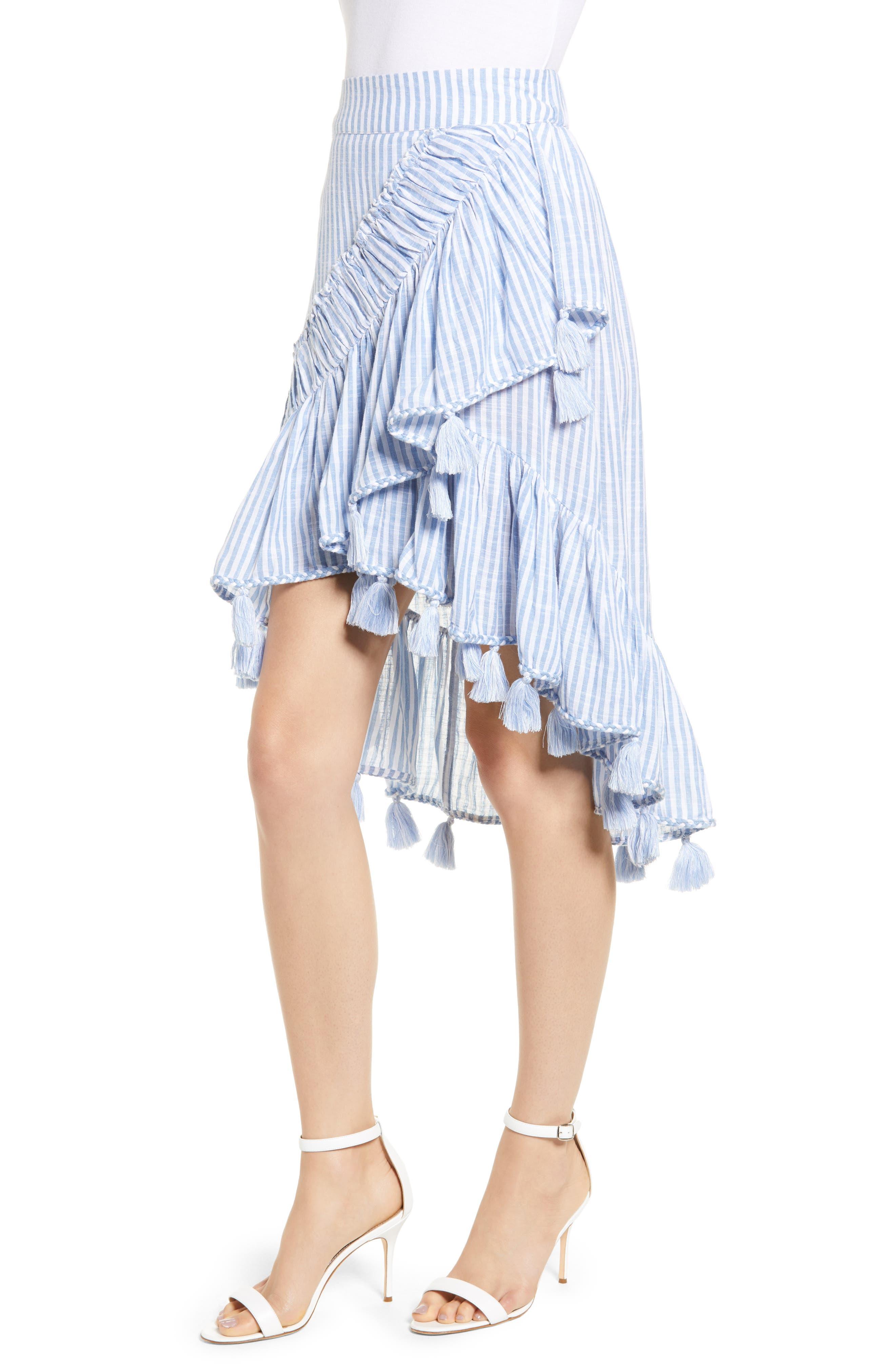 Rosero Ruffle High/Low Skirt,                             Alternate thumbnail 3, color,                             BLUE STRIPE