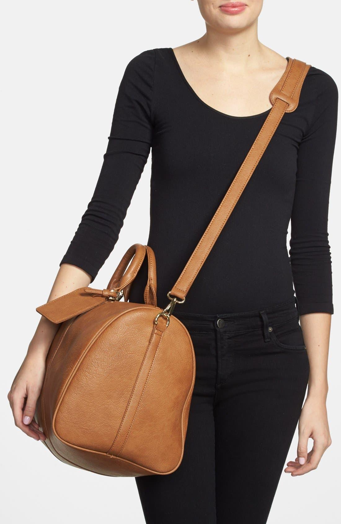 'Cassidy' Faux Leather Duffel Bag,                             Alternate thumbnail 7, color,                             COGNAC