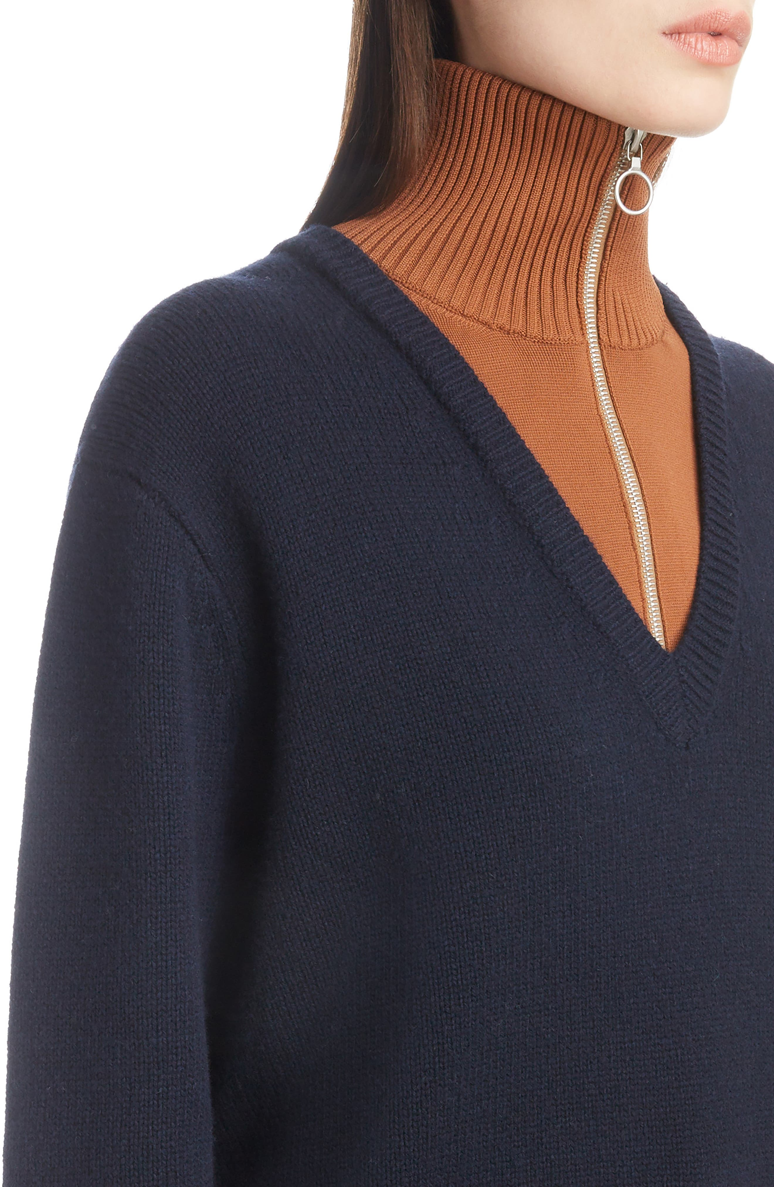 Inset Stretch Wool Sweater,                             Alternate thumbnail 4, color,                             NAVY