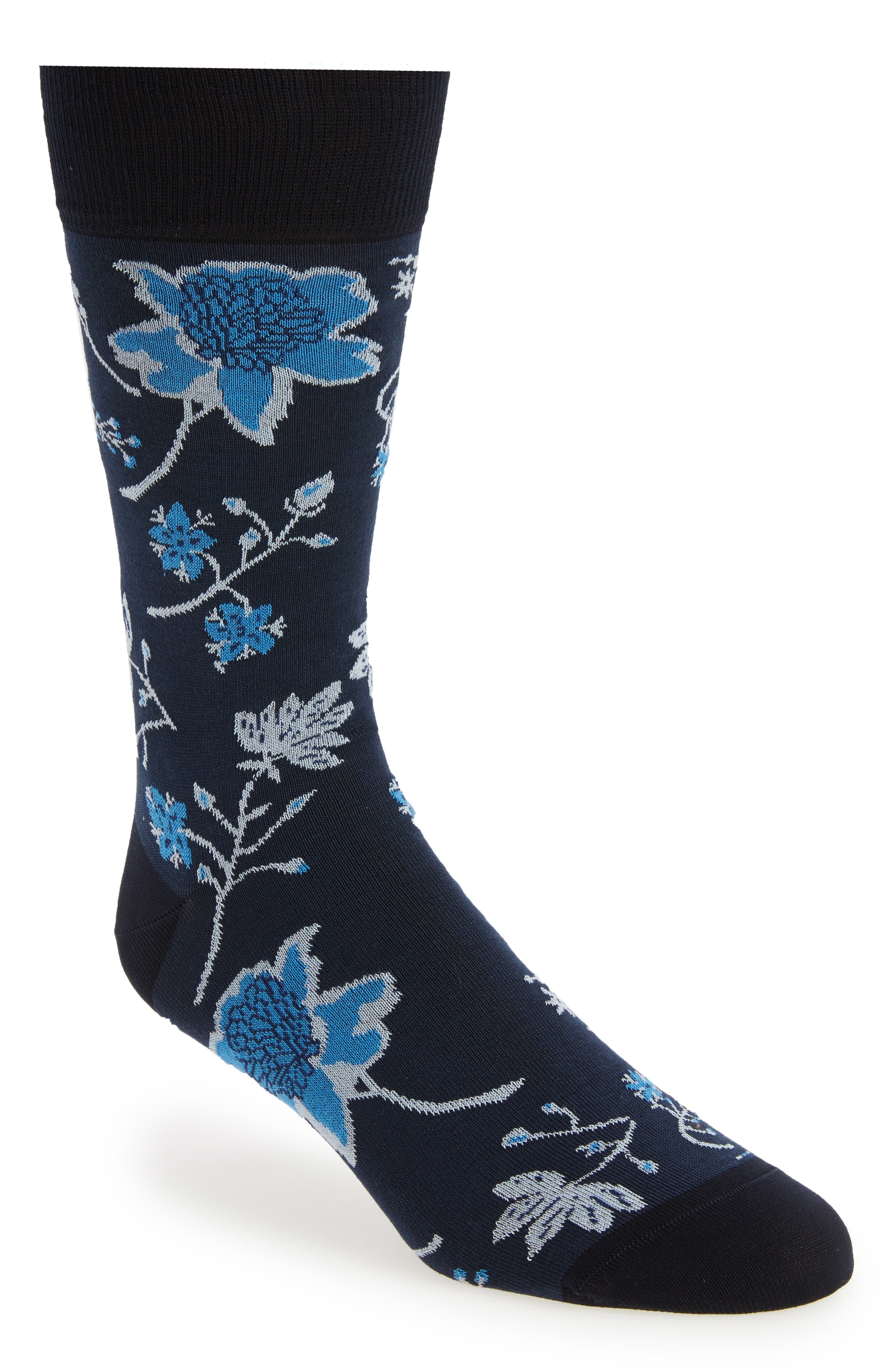 Floral Crew Socks,                             Main thumbnail 3, color,