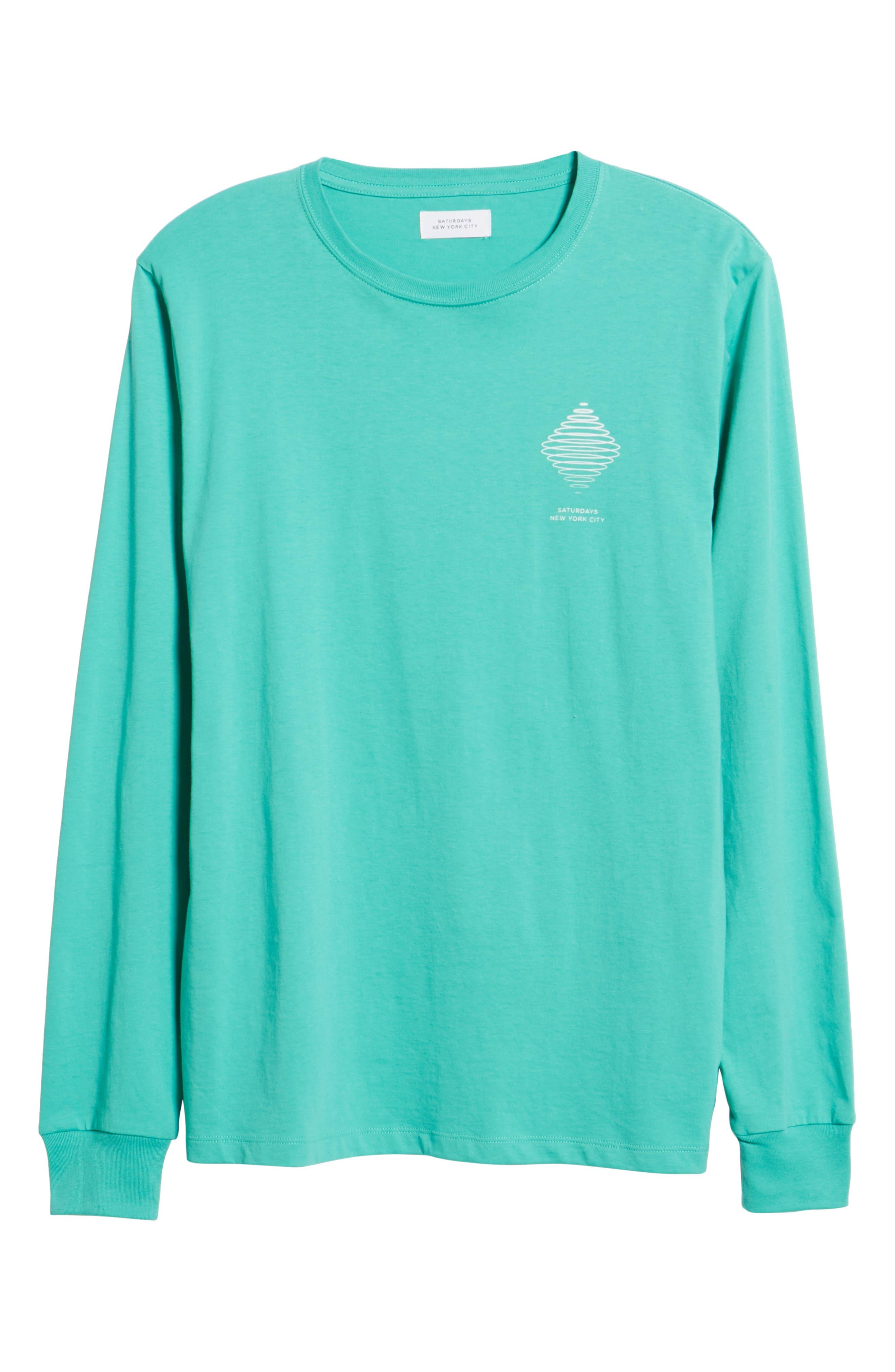 Diamond Spiral Long Sleeve T-Shirt,                             Alternate thumbnail 6, color,                             SEAFOAM GREEN