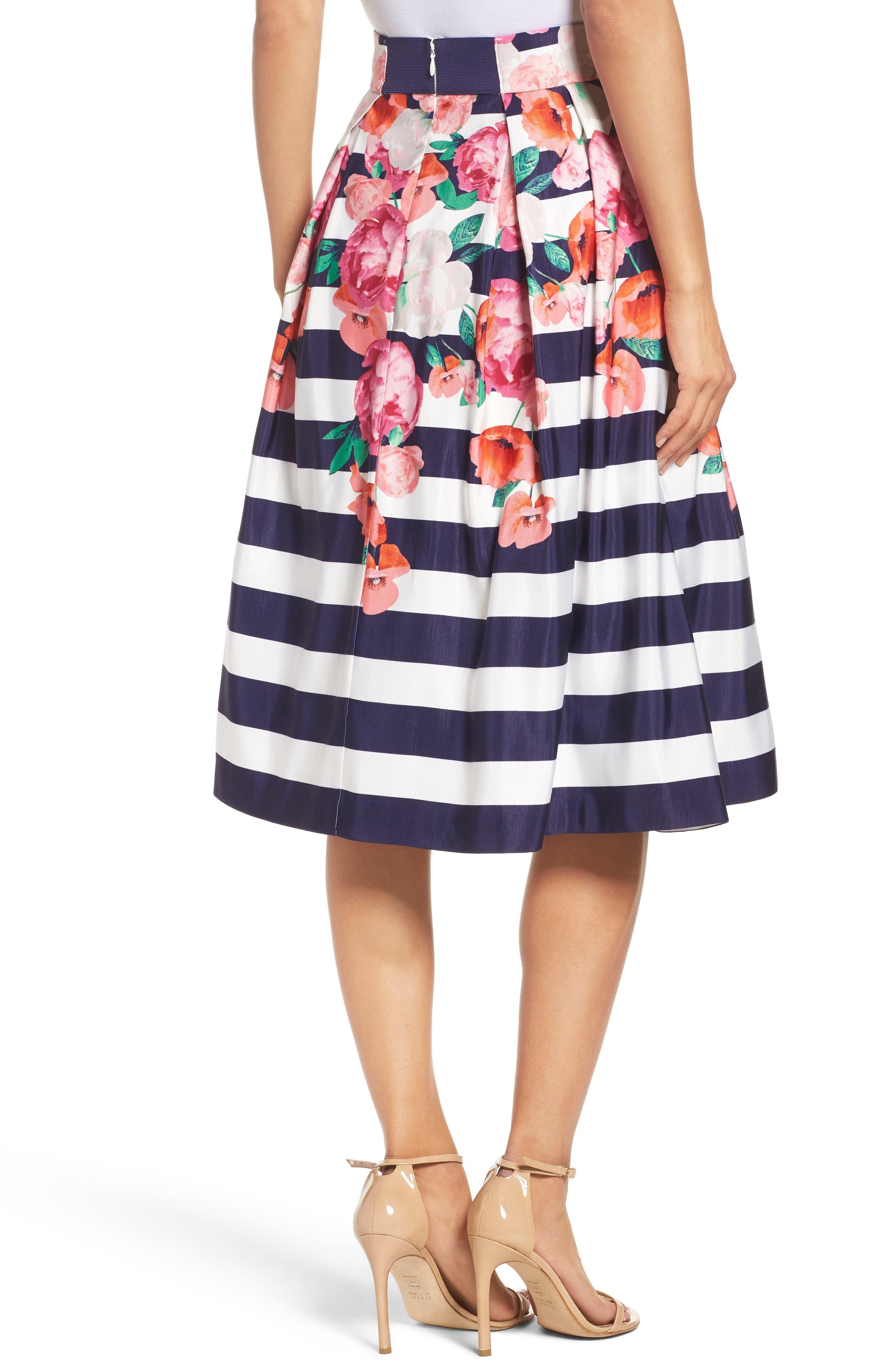 Floral Stripe Midi Skirt,                             Alternate thumbnail 2, color,                             650