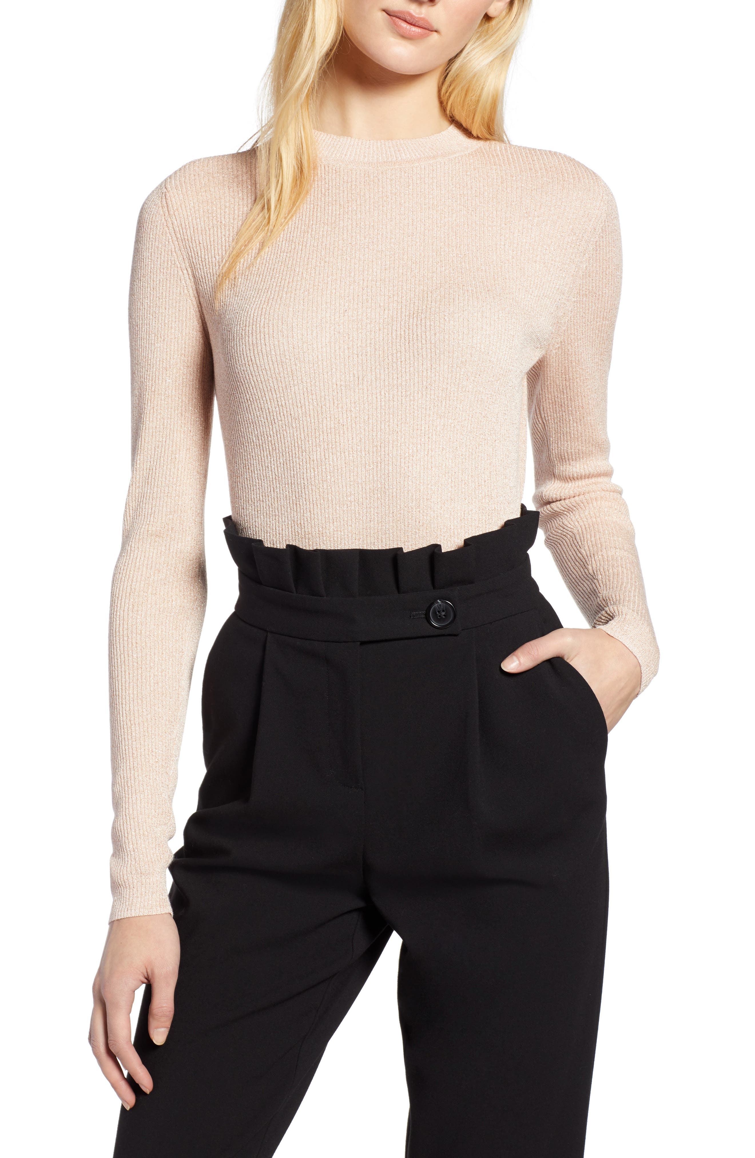 x Atlantic-Pacific Ribbed Shimmer Top,                         Main,                         color, PINK GLOW