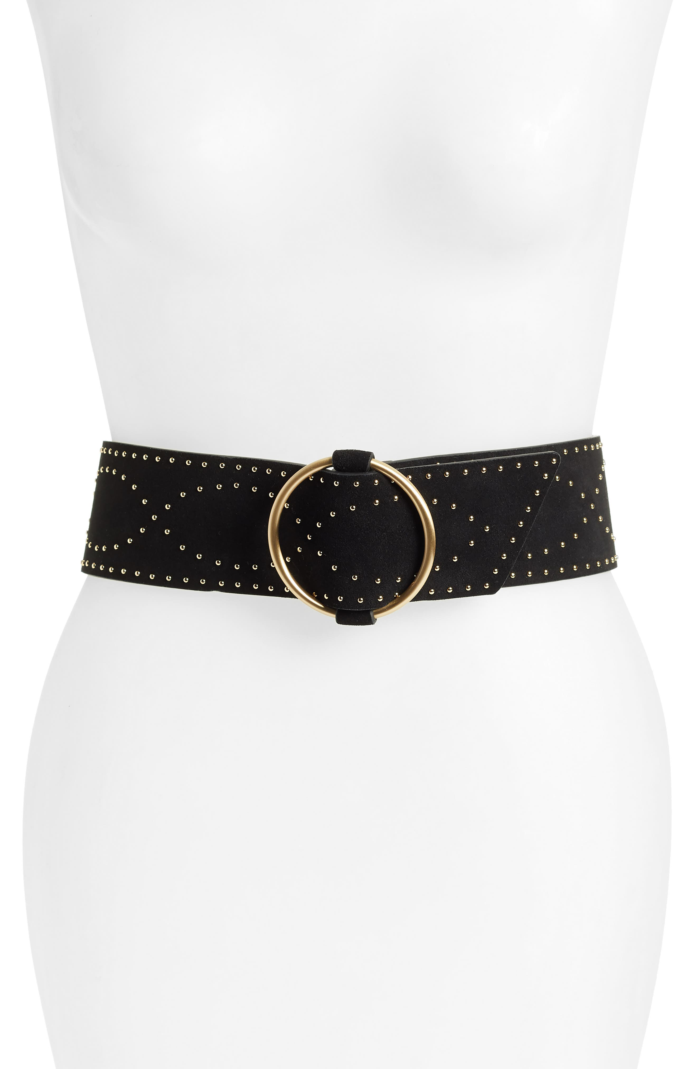 Studded Stretch Leather Belt,                             Main thumbnail 1, color,                             BLACK