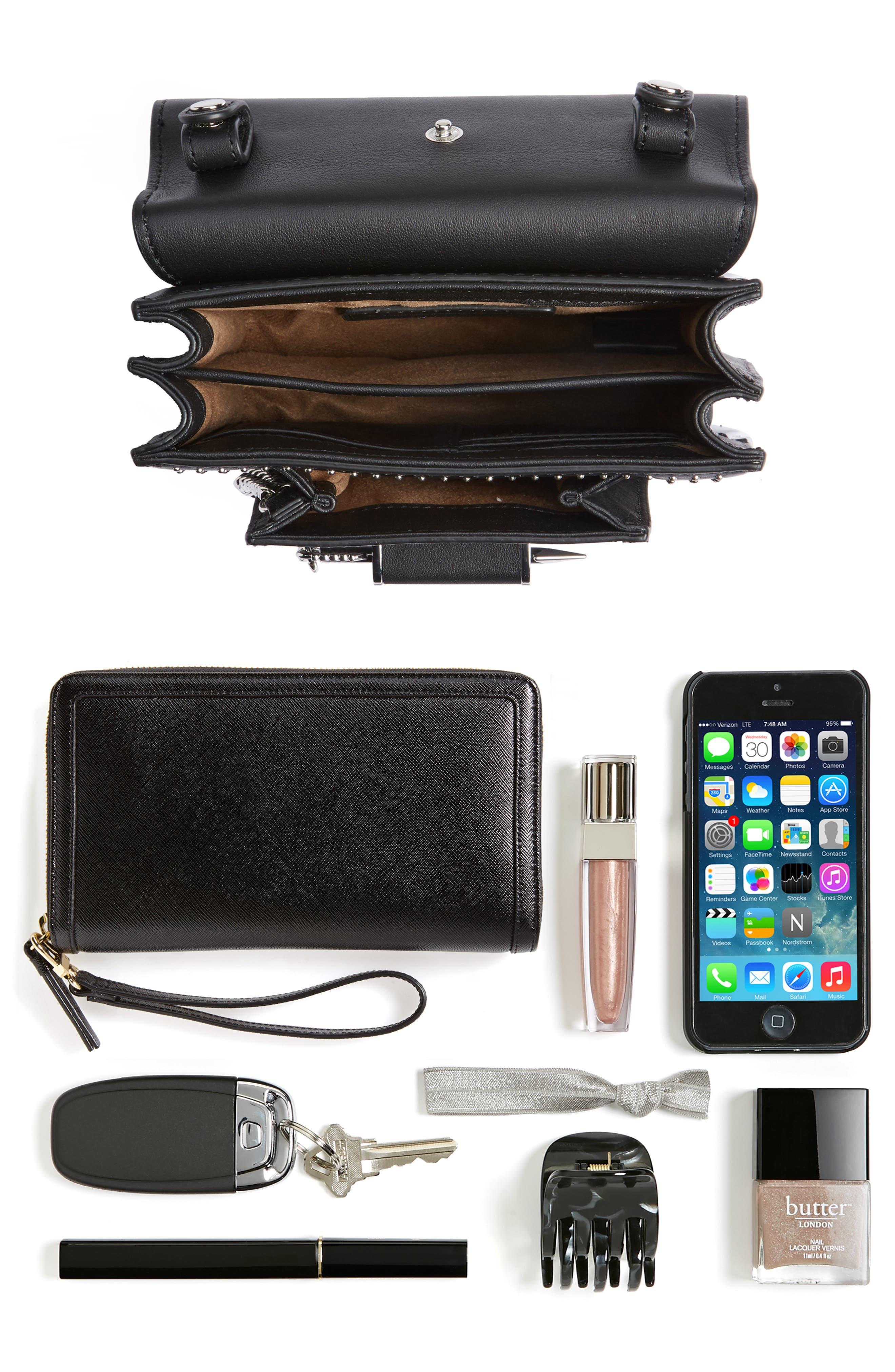 MACKAGE,                             Mini Rubie Leather Crossbody Bag,                             Alternate thumbnail 7, color,                             001