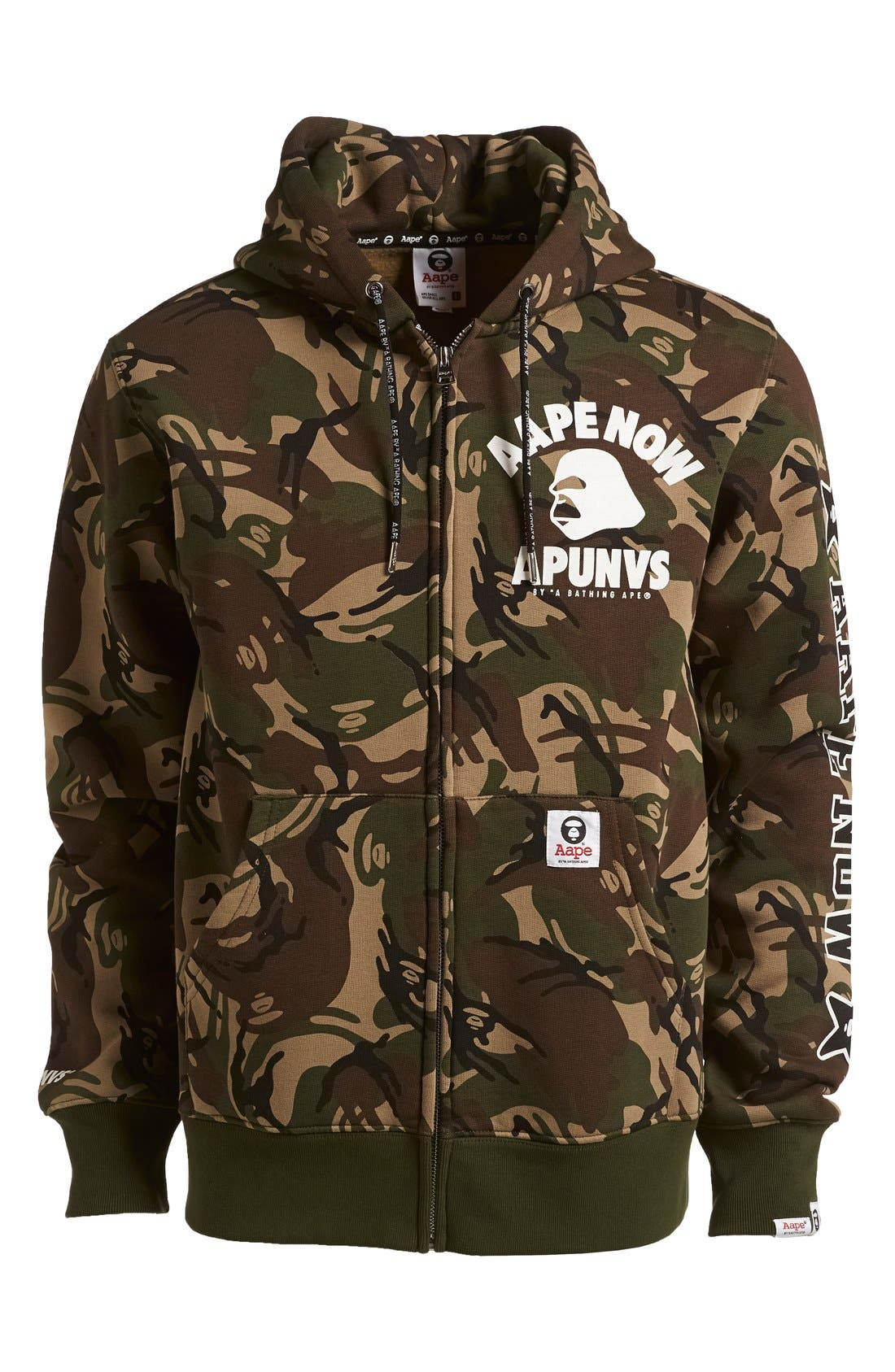 AAPE BY A BATHING APE<SUP>®</SUP>,                             Camo Full Zip Hoodie,                             Main thumbnail 1, color,                             340