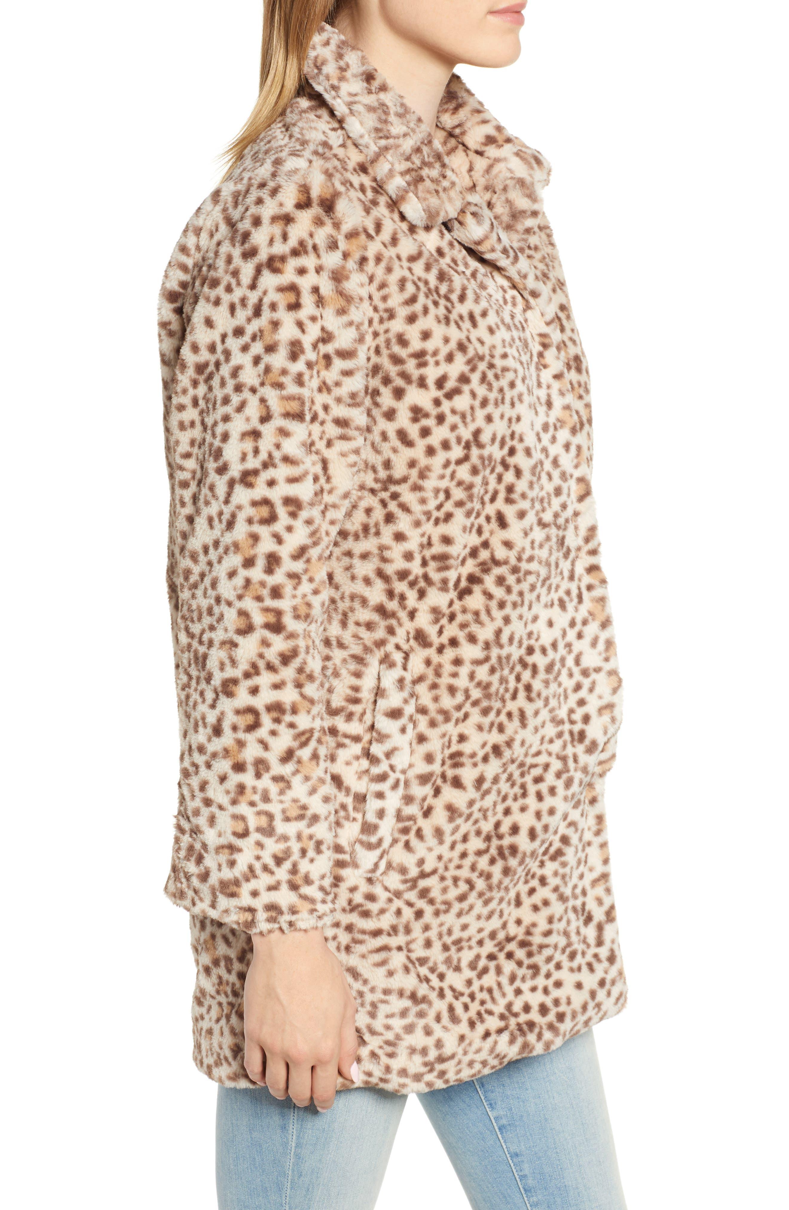 Faux Leopard Fur Coat,                             Alternate thumbnail 3, color,                             TAN