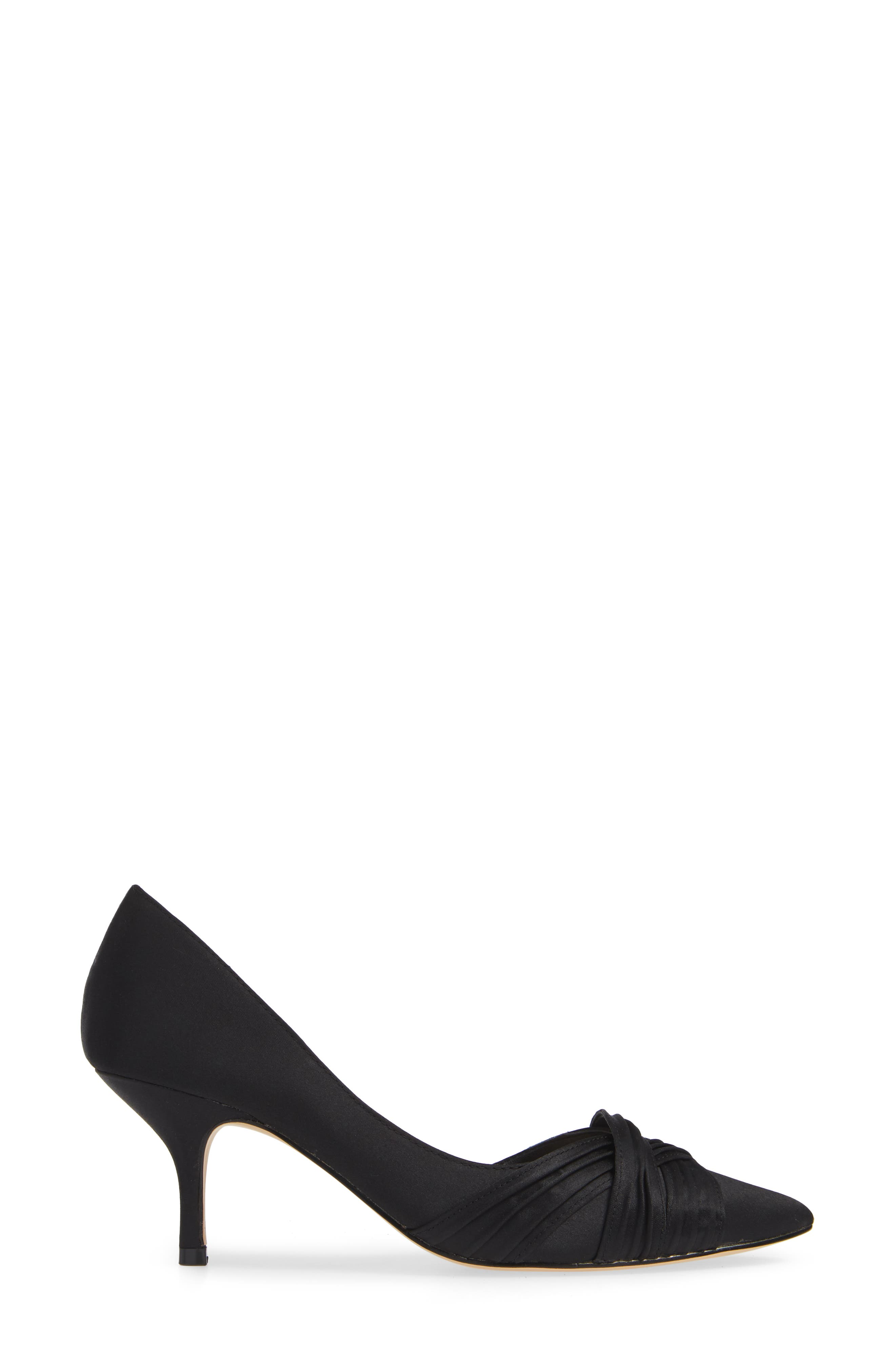 Blakely Half d'Orsay Pointy Toe Pump,                             Alternate thumbnail 3, color,                             BLACK SATIN
