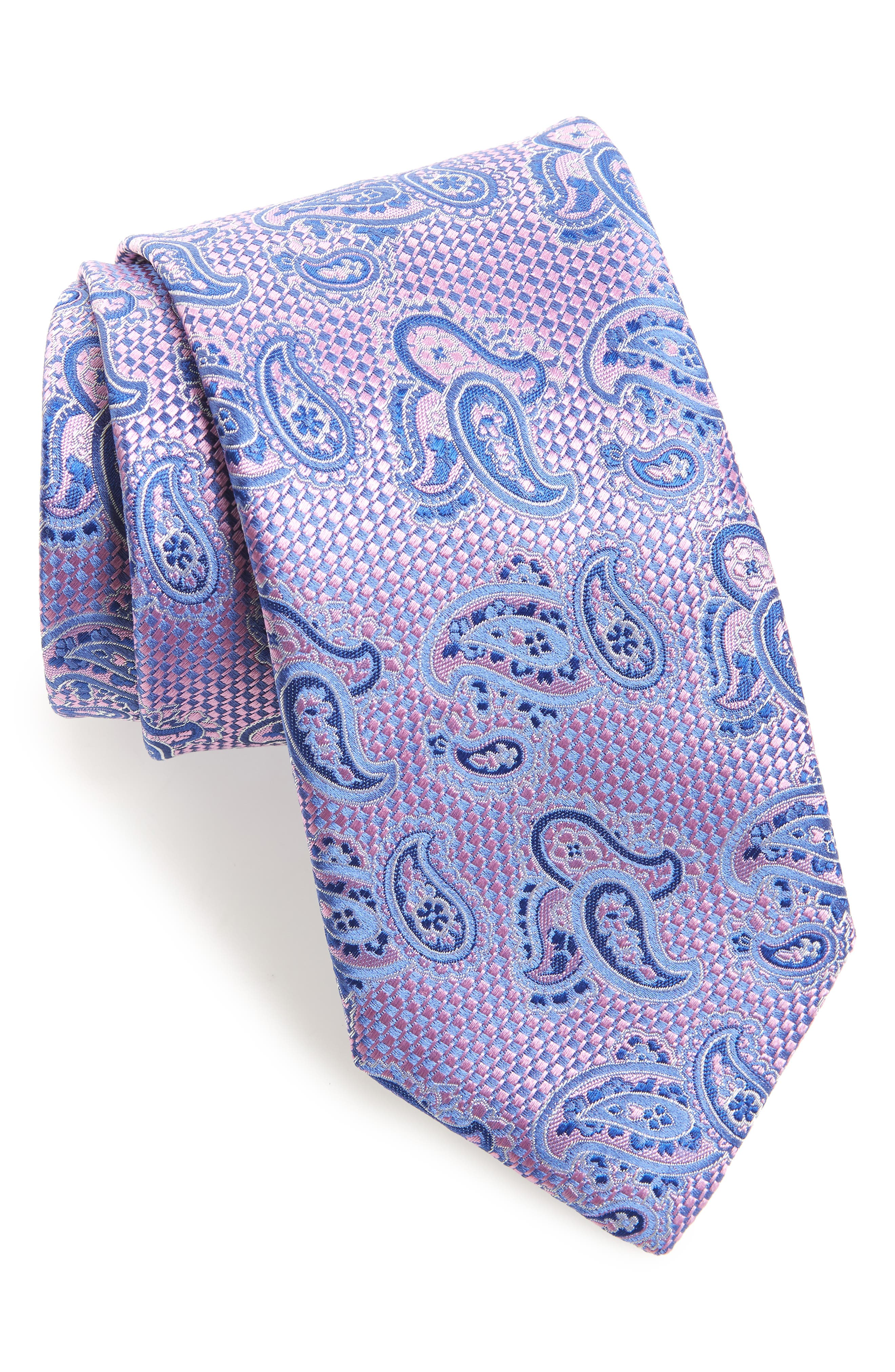 Paisley Silk X-Long Tie,                         Main,                         color, PINK