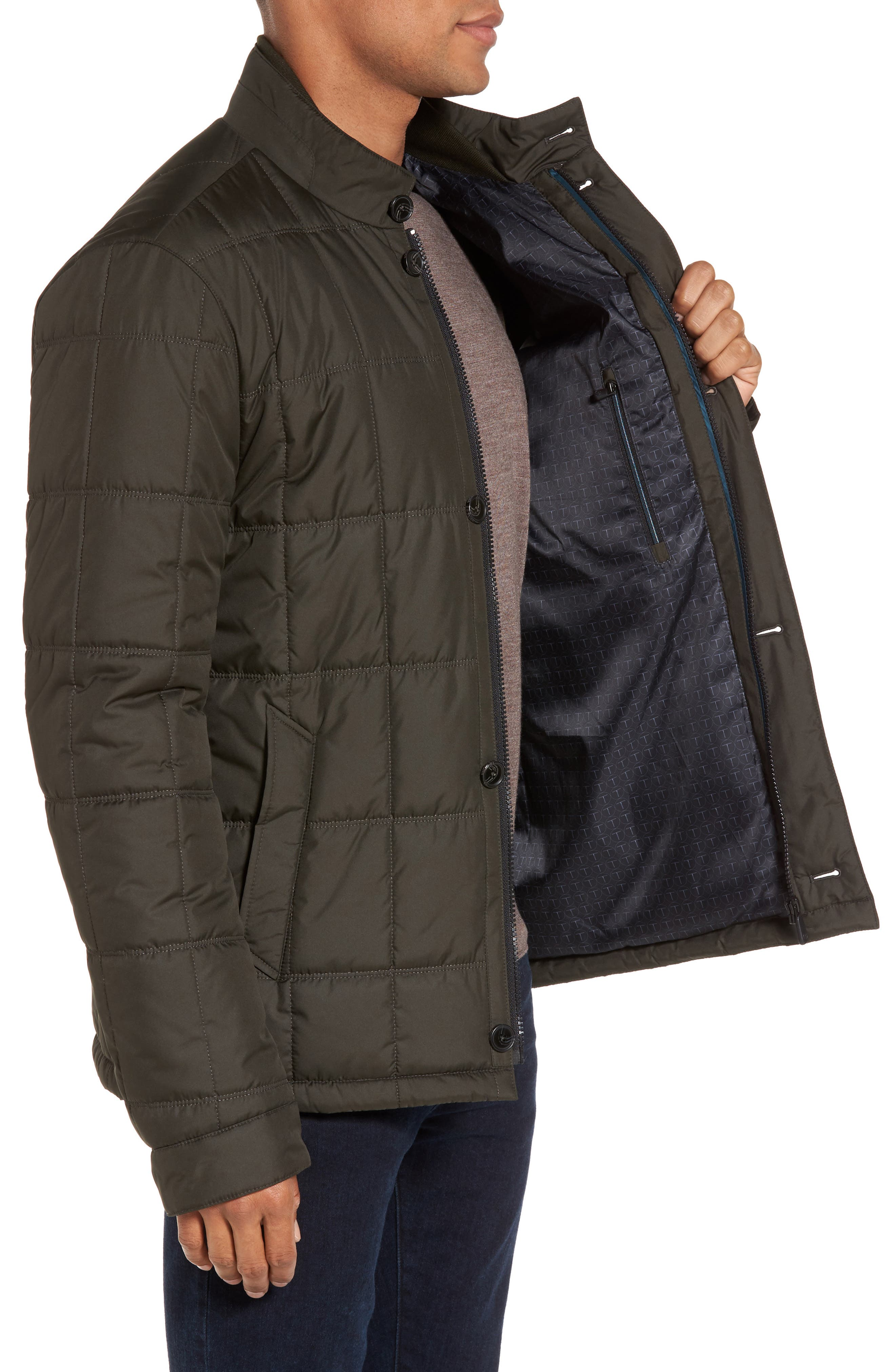 Regular Fit Quilted Jacket,                             Alternate thumbnail 8, color,