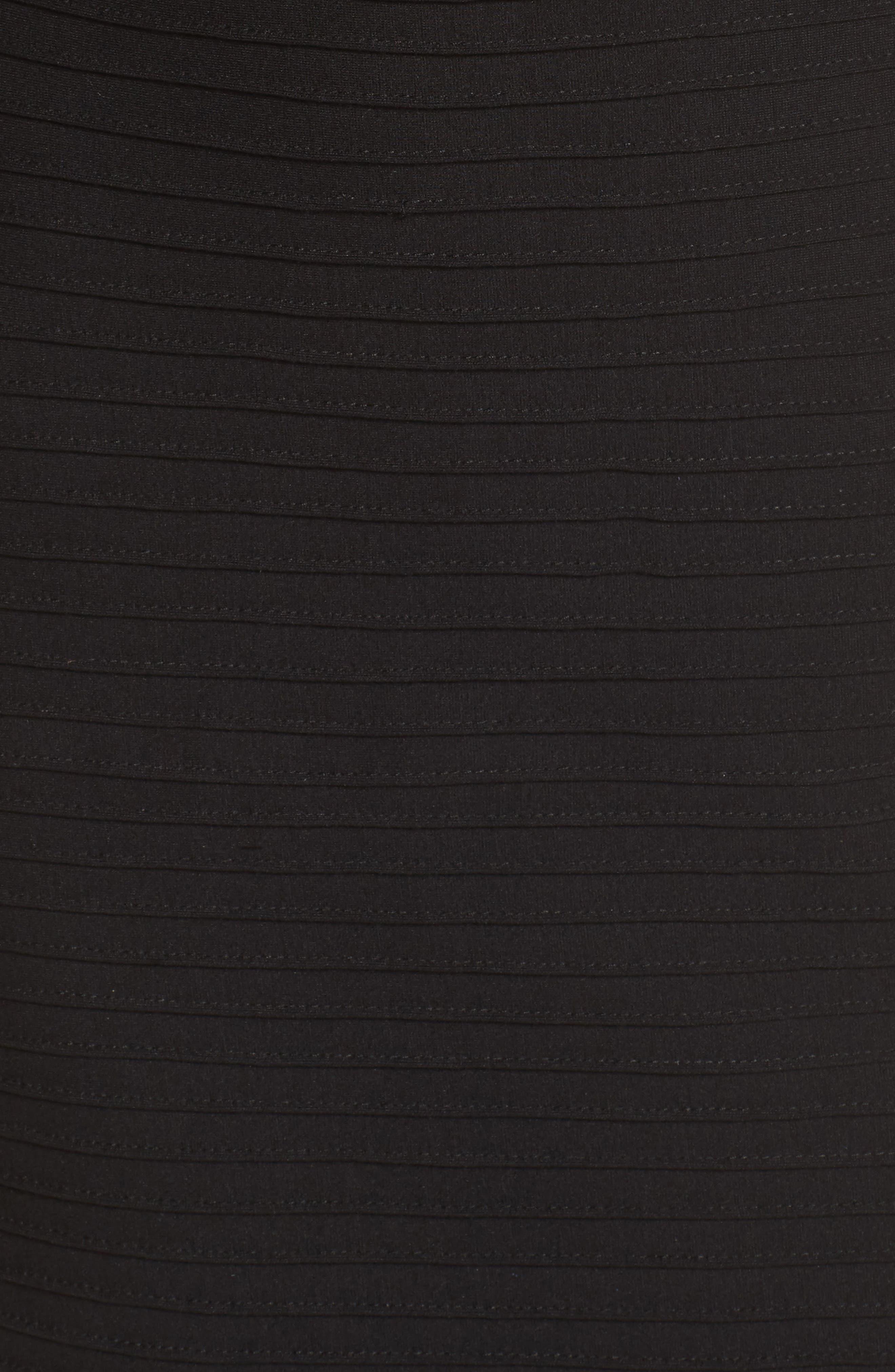 Pintuck Cold Shoulder Dress,                             Alternate thumbnail 5, color,                             001