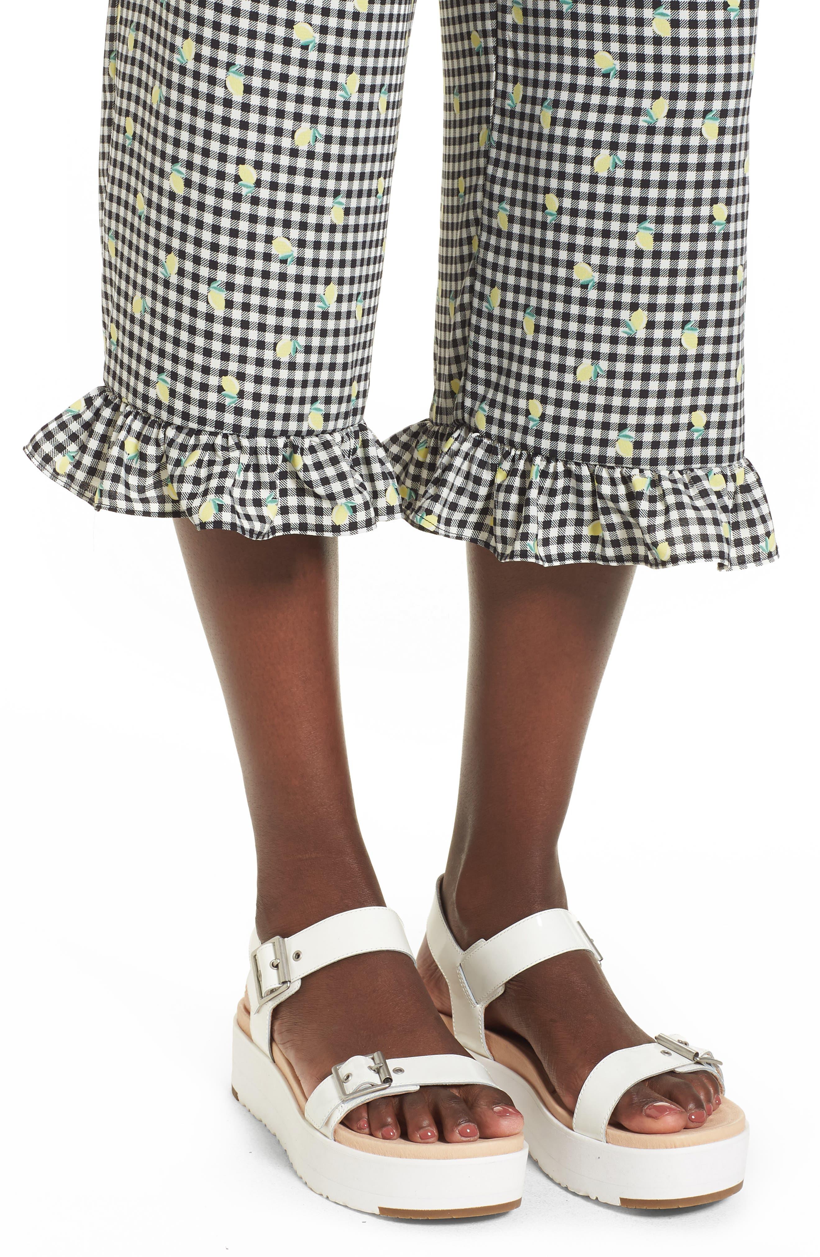 Gingham Ruffle Hem Crop Pants,                             Alternate thumbnail 4, color,                             001